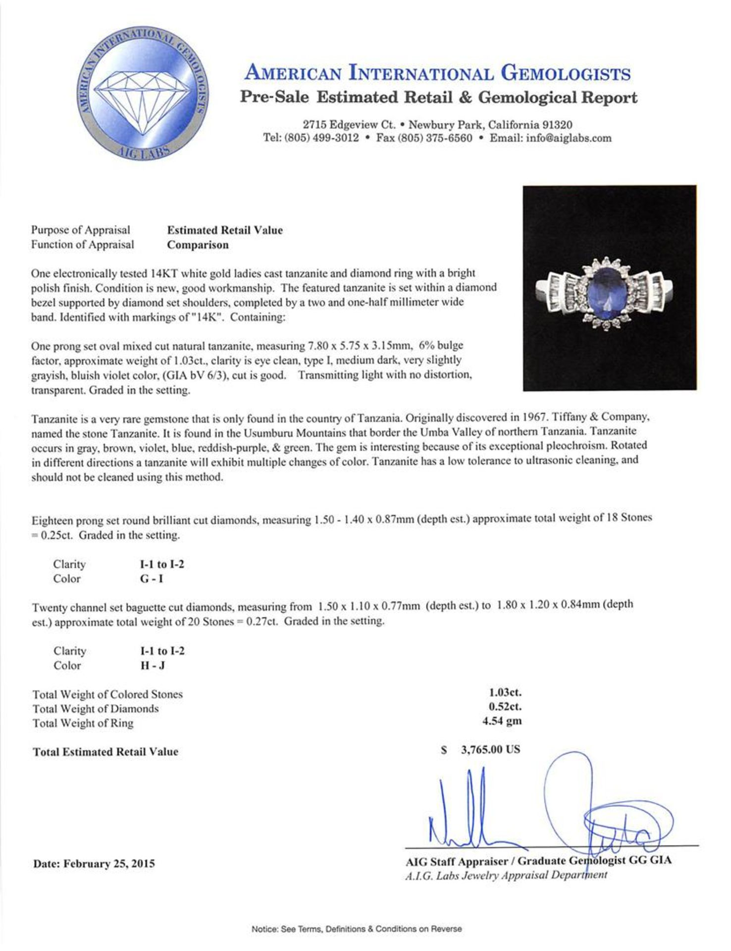 14KT White Gold 1.03ct Tanzanite and Diamond Ring - Image 3 of 3
