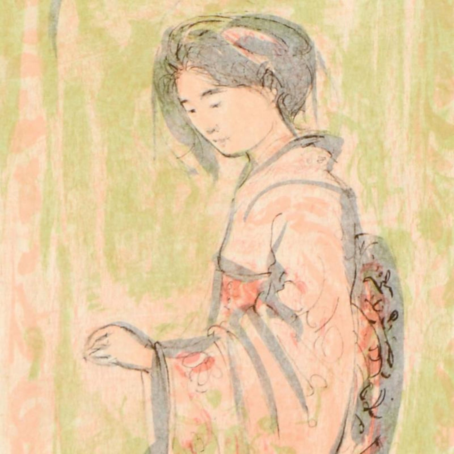 """Edna Hibel (1917-2014), """"Ume"""" Limited Edition Lithograph on Rice Paper, Numbered - Image 2 of 2"""