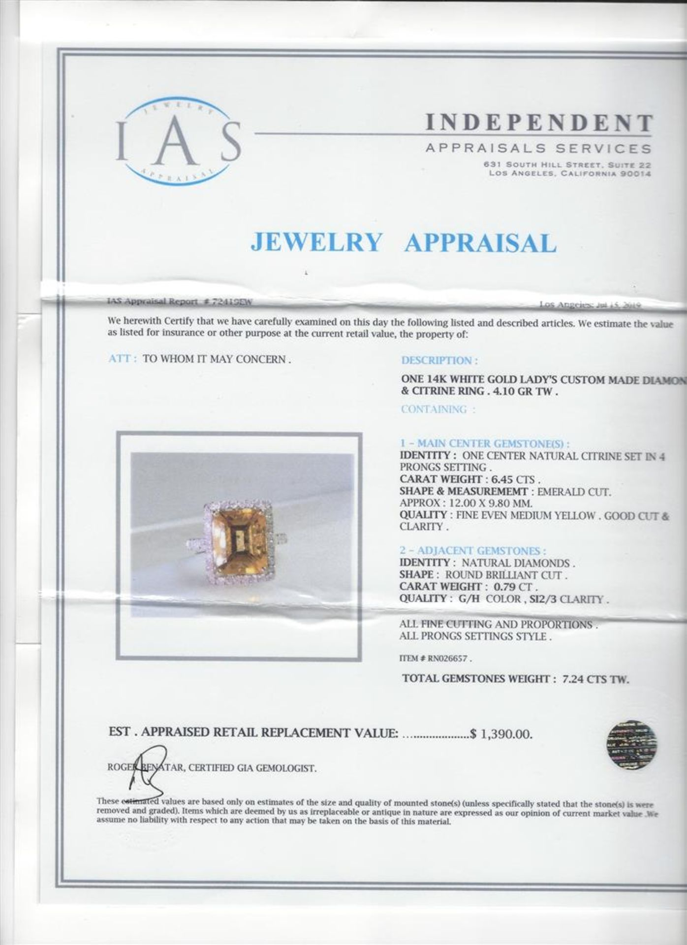 6.25ct Citrine and Diamond Ring - 14KT White Gold - Image 5 of 5
