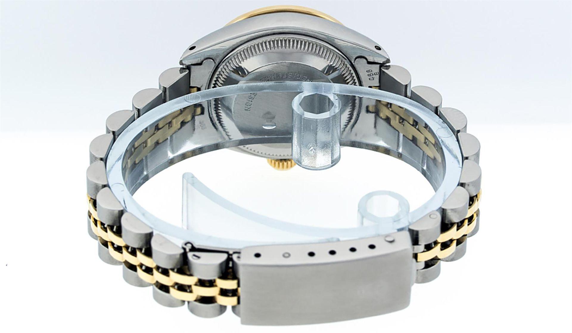 Rolex Ladies 2 Tone Black Lugs & Pyramid Diamond Datejust Wriswatch - Image 6 of 7