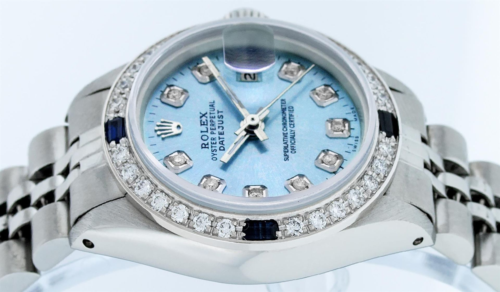 Rolex Ladies Stainless Steel Sky Blue Diamond & Sapphire Datejust Wristwatch - Image 5 of 9
