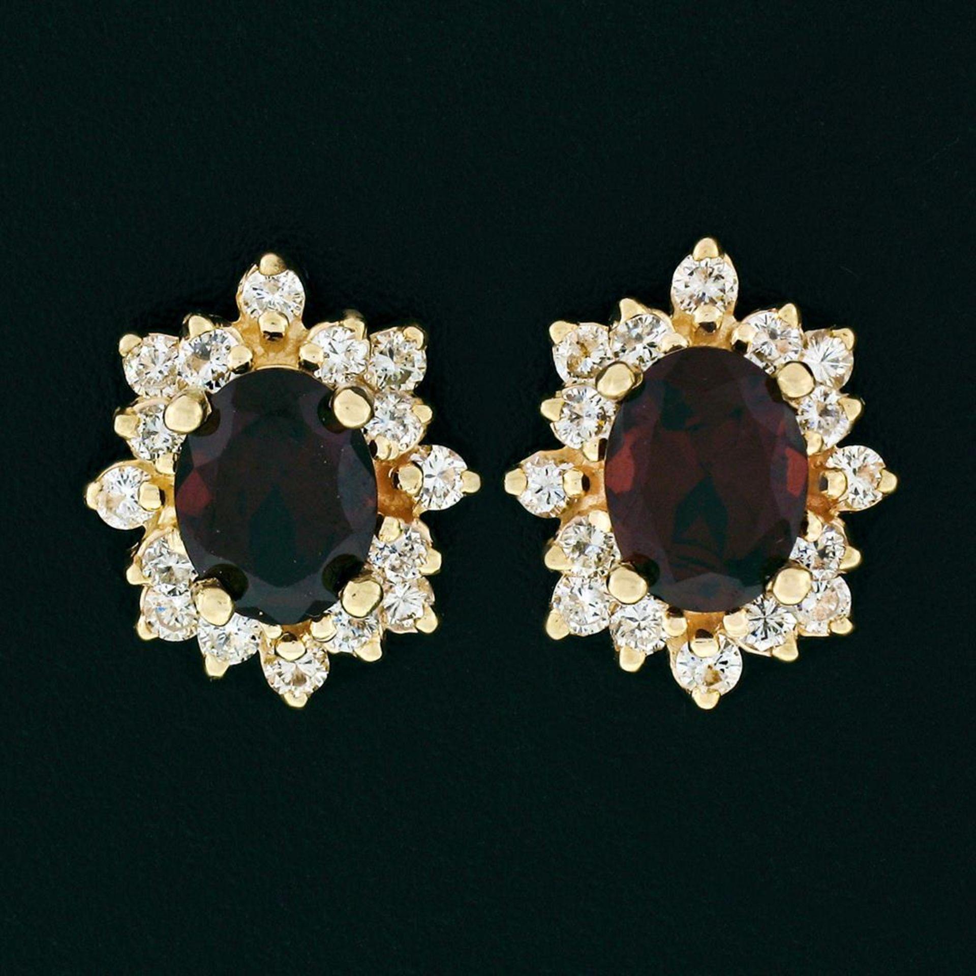 14k Yellow Gold 3.80ctw Oval Garnet & Layered Round Diamond Halo Stud Earrings - Image 2 of 5