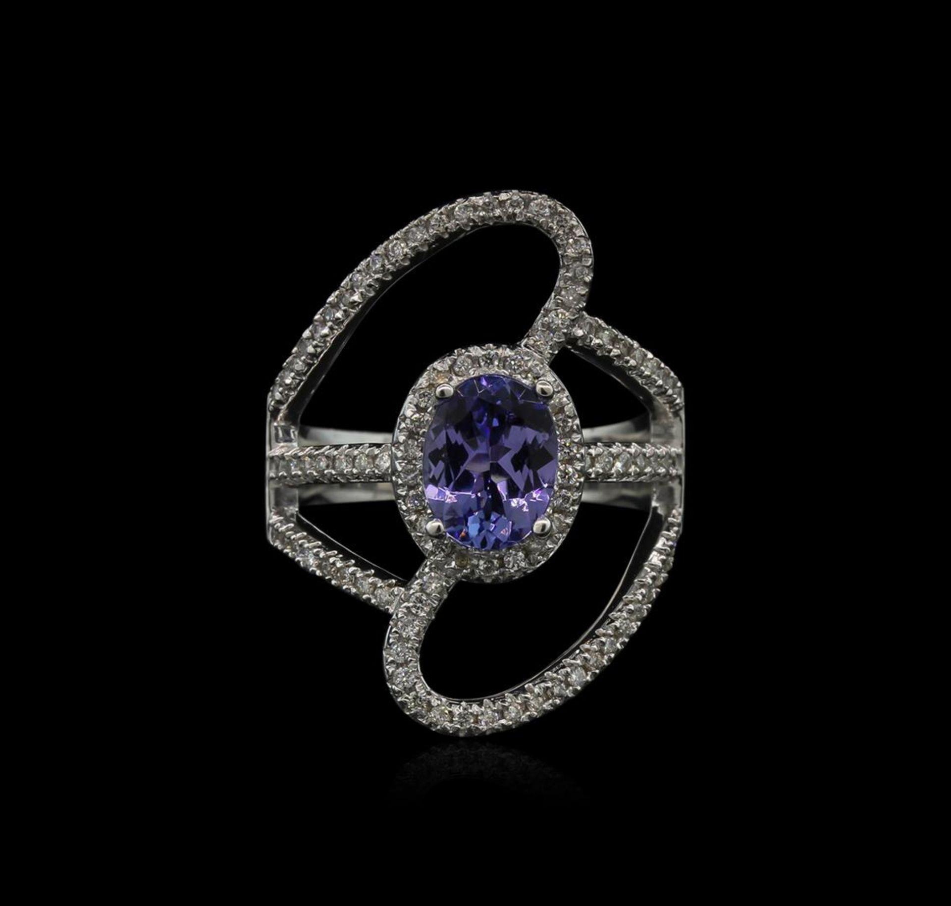 1.50 ctw Tanzanite and Diamond Ring - 14KT White Gold - Image 2 of 2