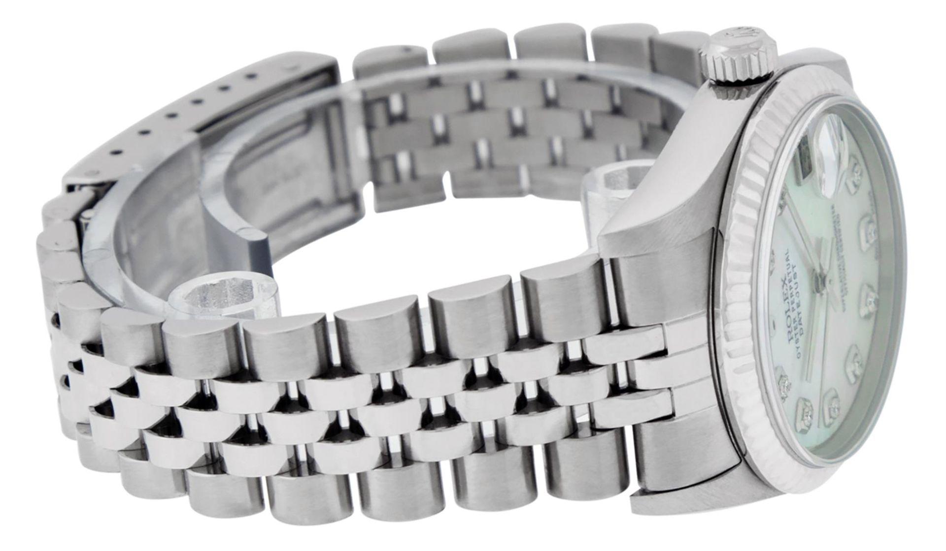 Rolex Womens Midsize Quickset 31mm MOP Diamond Stainless Steel Datejust Wriswatc - Image 5 of 9