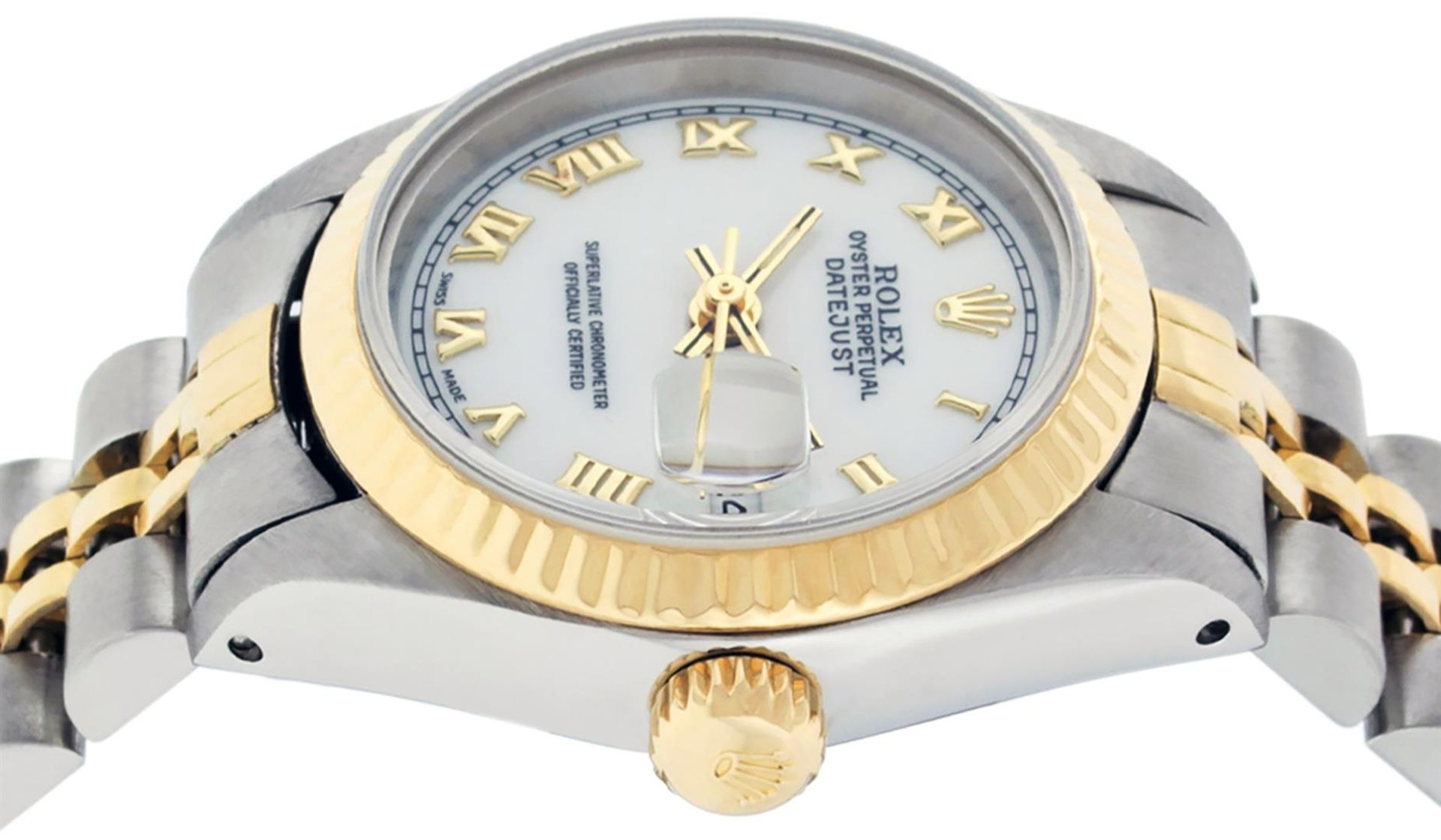 Rolex Ladies 2 Tone White Roman 26MM Datejust Wristwatch - Image 7 of 8
