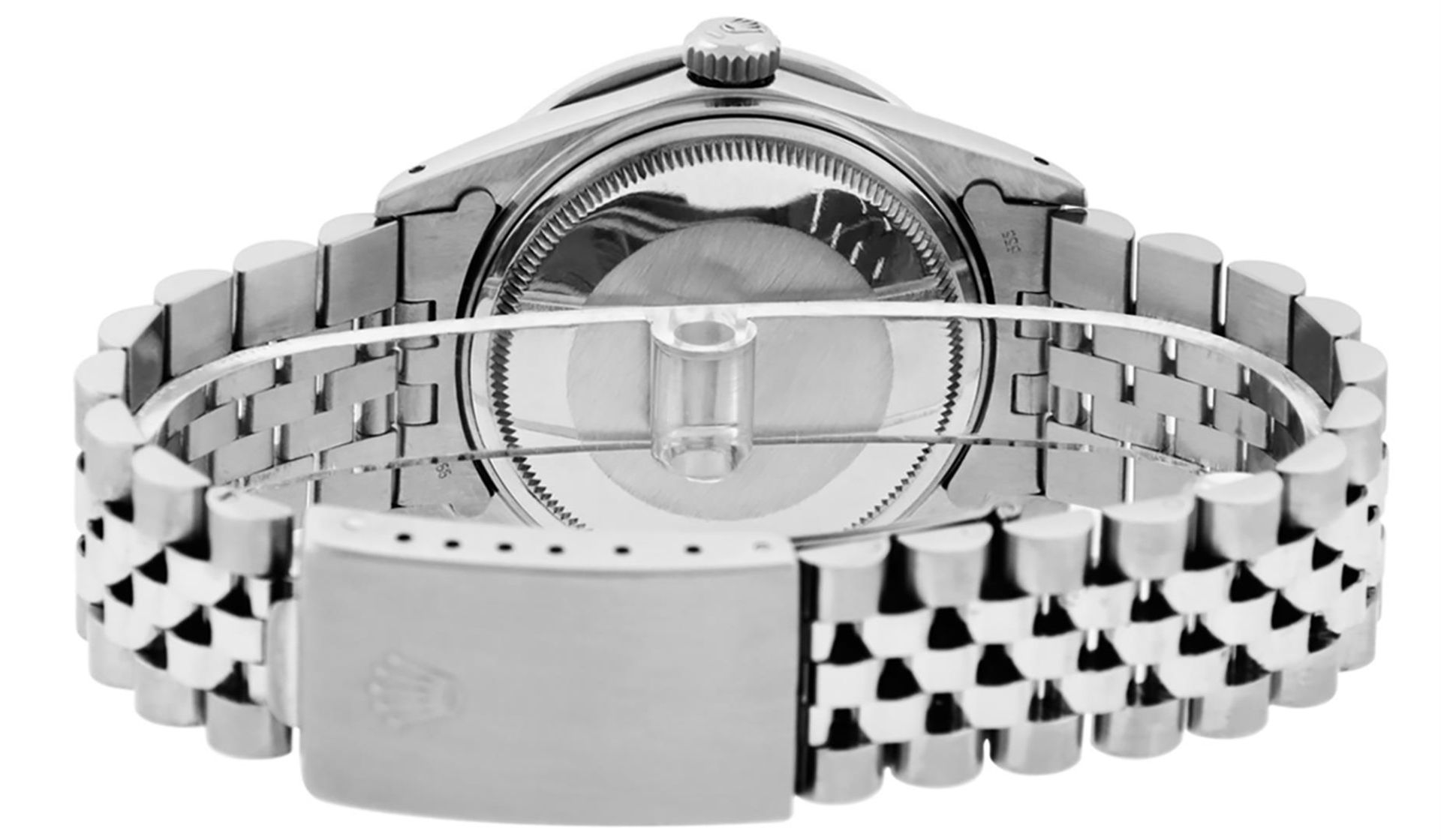 Rolex Mens SS Blue Vignette Diamond & Ruby Channel Set Diamond Datejust - Image 7 of 9