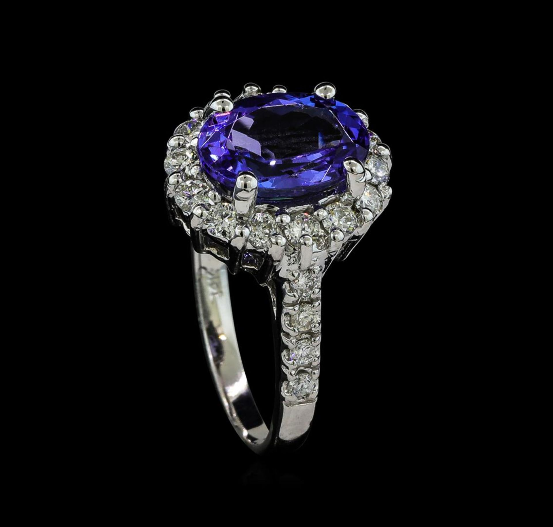 3.06 ctw Tanzanite and Diamond Ring - 14KT White Gold - Image 4 of 5