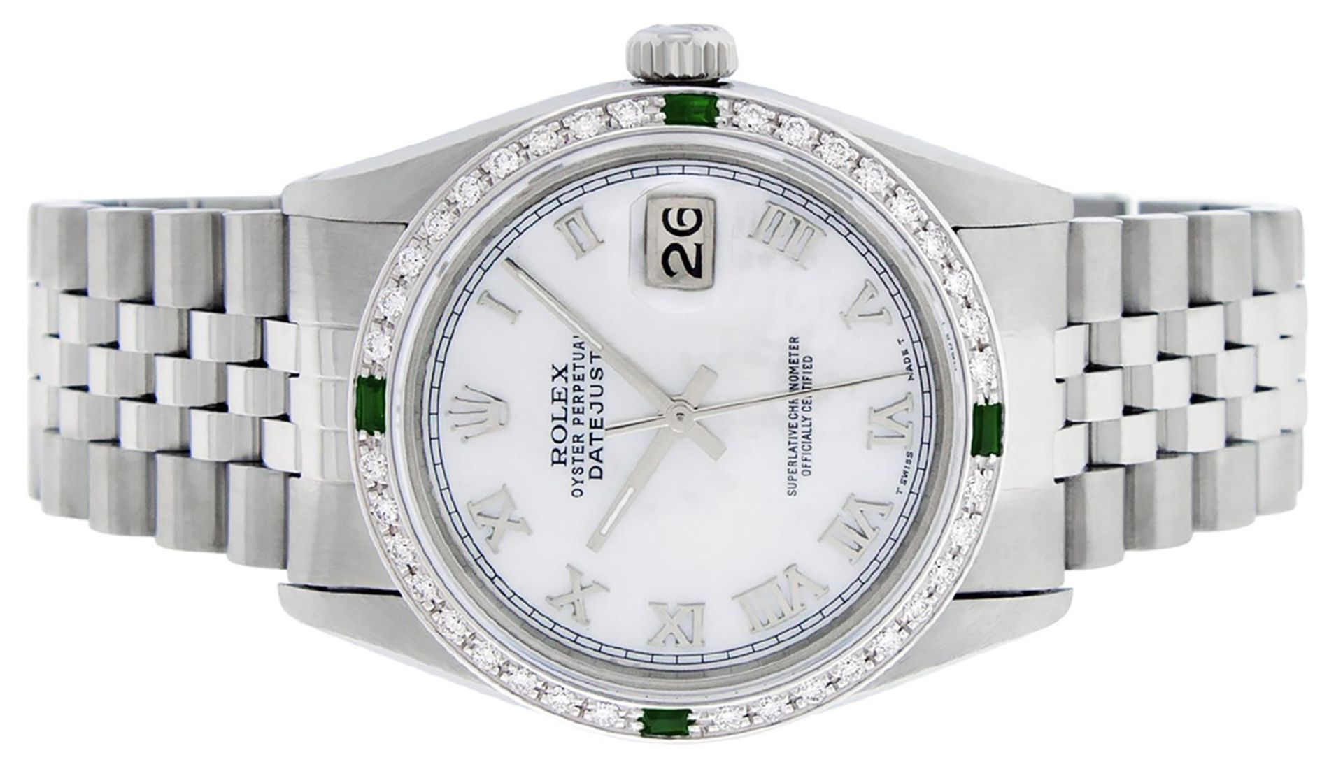Rolex Mens Stainless Steel Silver MOP Roman 36MM Diamond & Emerald Datejust - Image 4 of 9