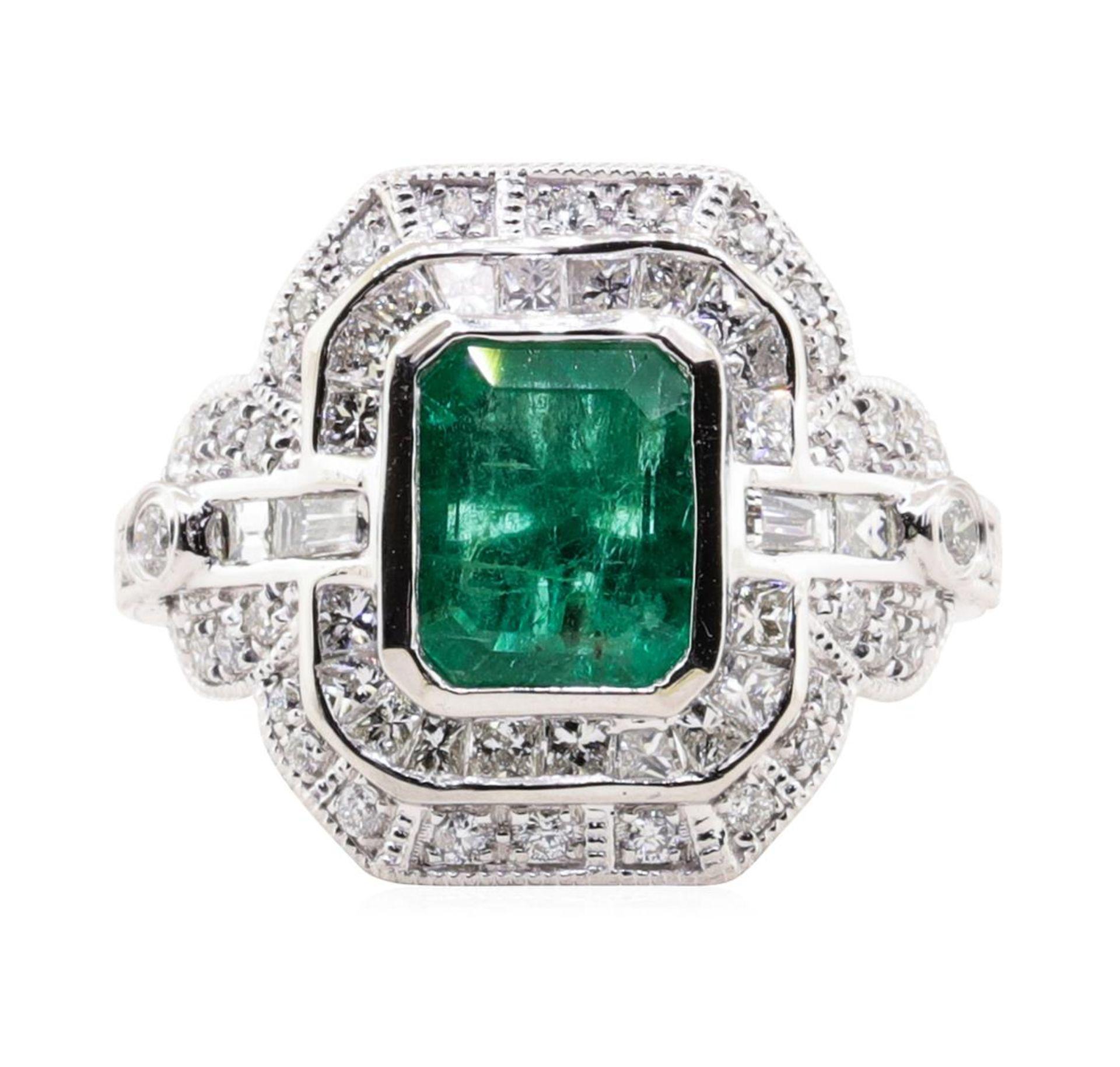 1.94ct Emerald and Diamond Ring - Platinum