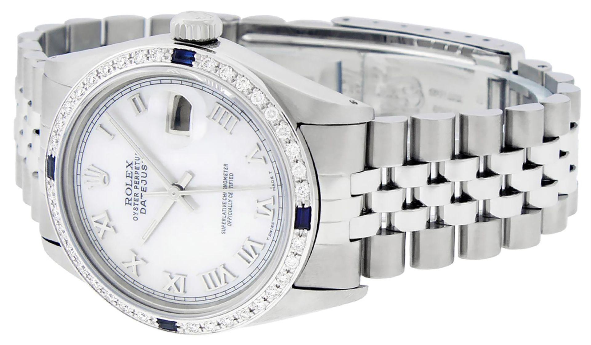 Rolex Mens Stainless Steel MOP Roman 36MM Diamond & Sapphire Datejust Wristwatch - Image 7 of 9