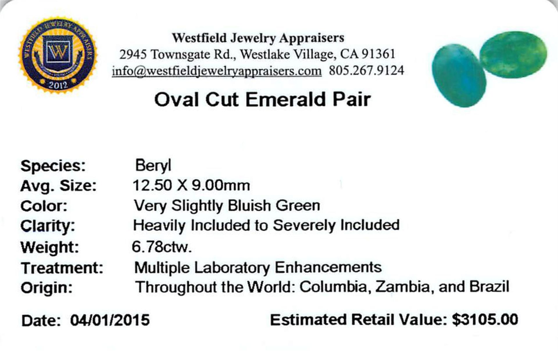 6.78 ctw Oval Mixed Emerald Parcel - Image 2 of 2