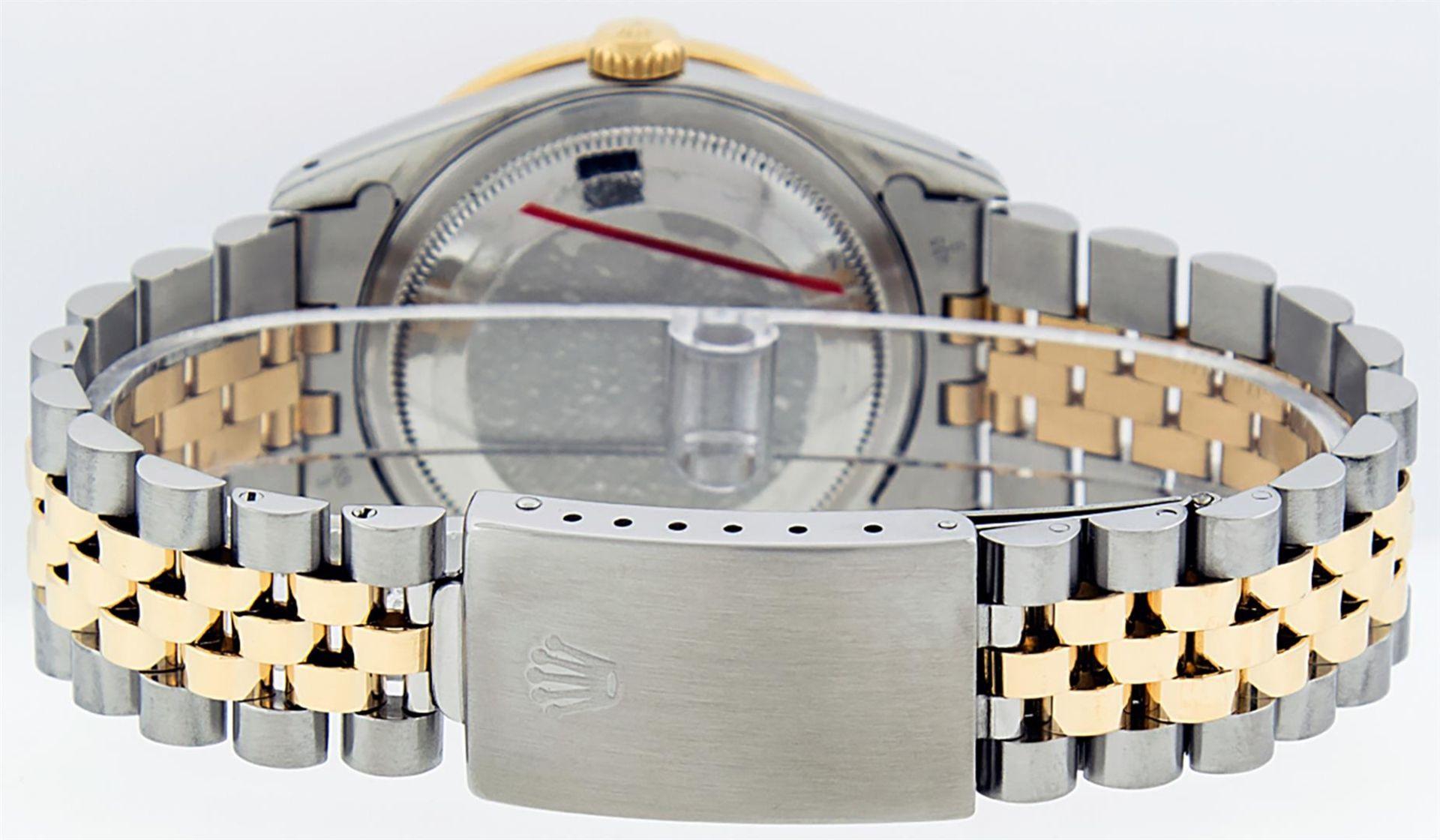 Rolex Mens 2 Tone Blue Vignette String Diamond Lugs Datejust Wristwatch - Image 6 of 8