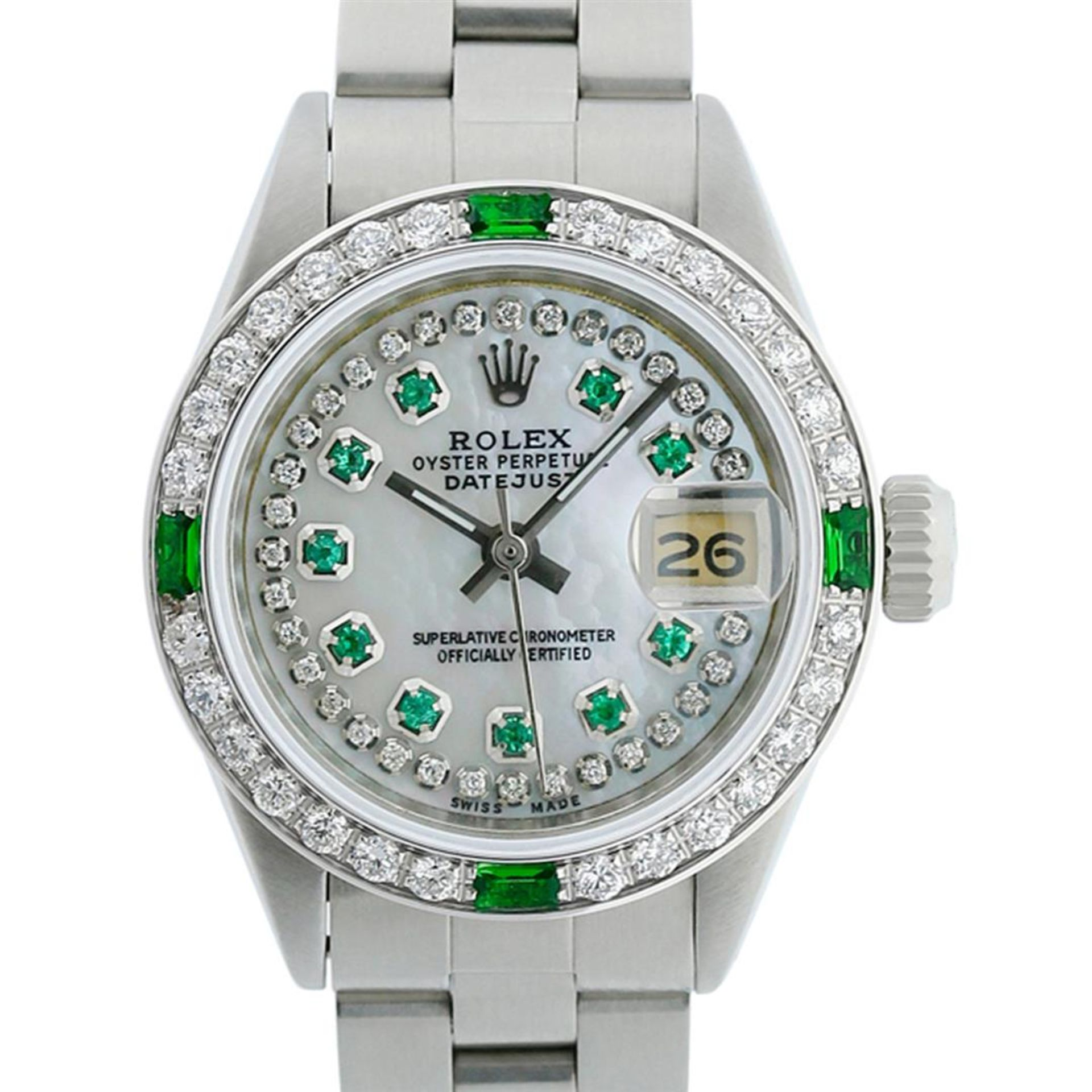 Rolex Ladies Stainless Steel MOP Emerald & Diamond Oyster Perpetaul Datejust Wri - Image 5 of 9
