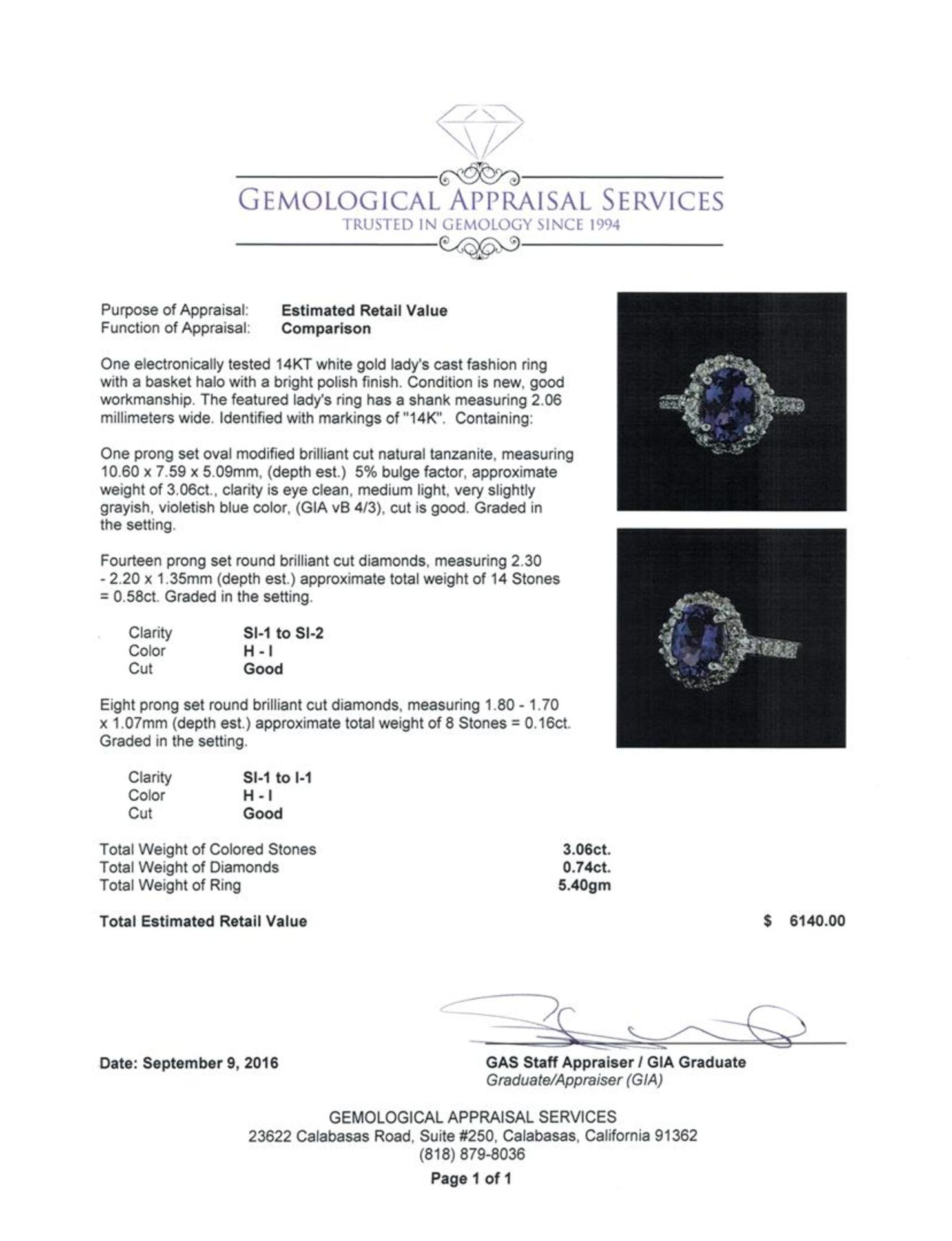 3.06 ctw Tanzanite and Diamond Ring - 14KT White Gold - Image 5 of 5