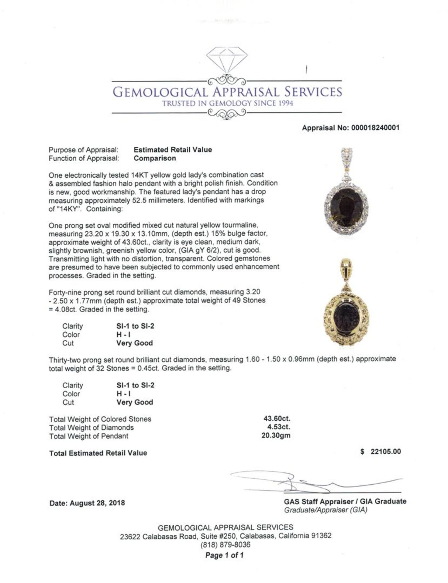 48.13 ctw Oval Mixed Yellow Tourmaline And Round Brilliant Cut Diamond Pendant - - Image 3 of 3