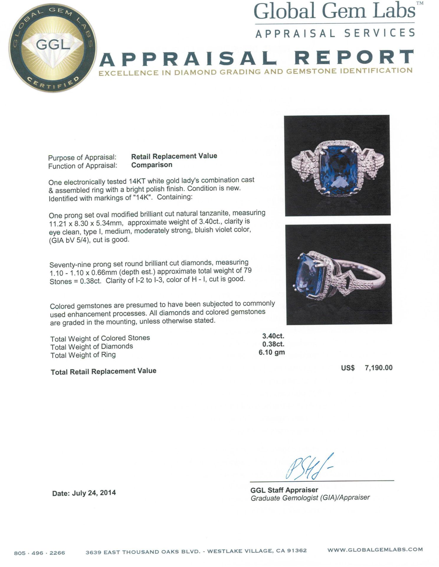 14KT White Gold 3.40 ctw Tanzanite and Diamond Ring - Image 5 of 5