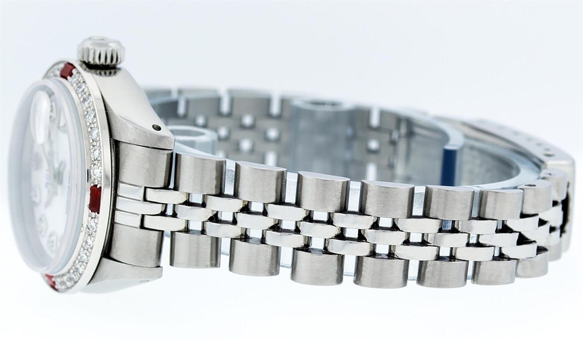 Rolex Ladies Stainless Steel MOP Diamond & Ruby 26MM Datejust Wristwatch - Image 9 of 9