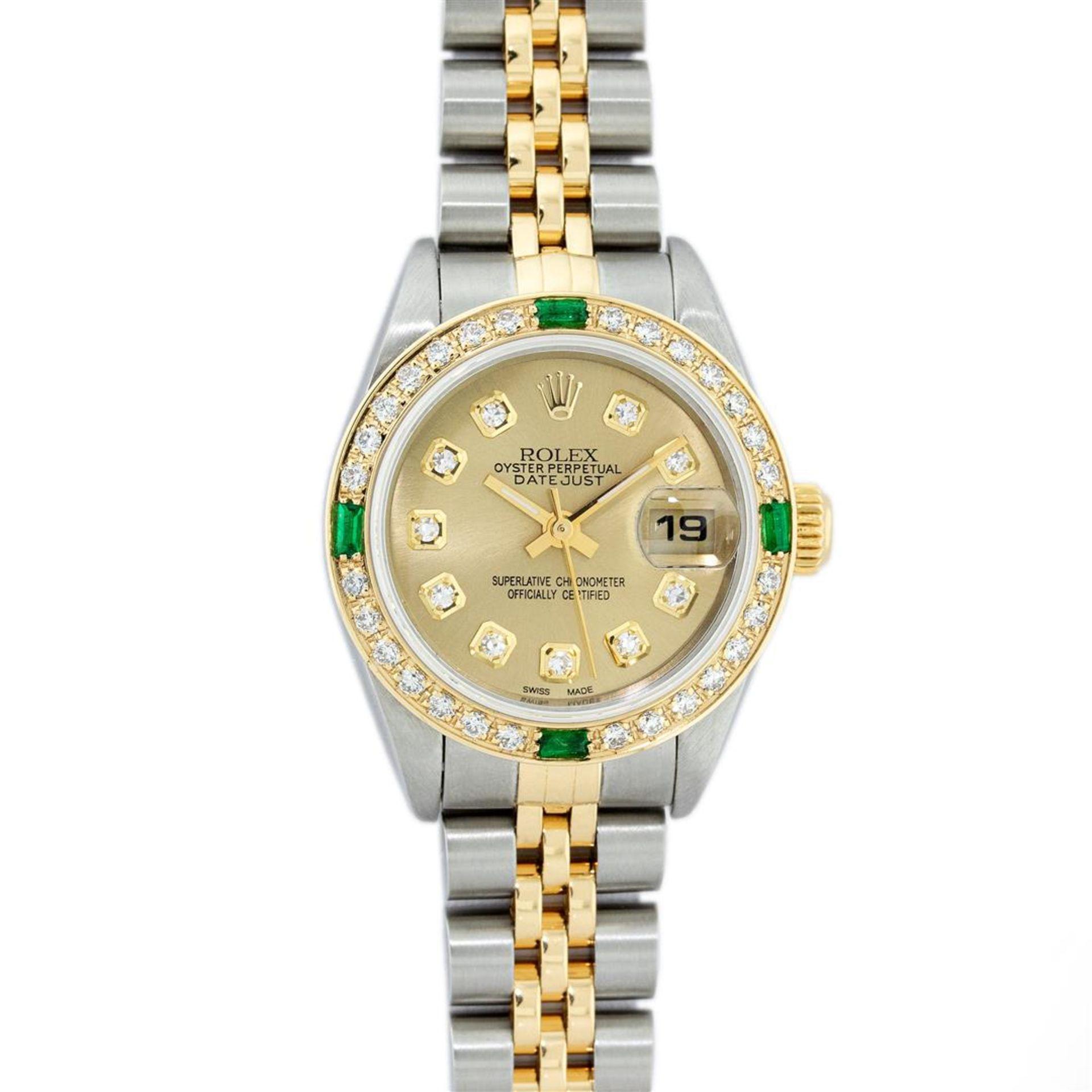 Rolex Ladies 2 Tone 18K Quickset Champagne Diamond & Emerald Datejust Wristwatch - Image 2 of 9