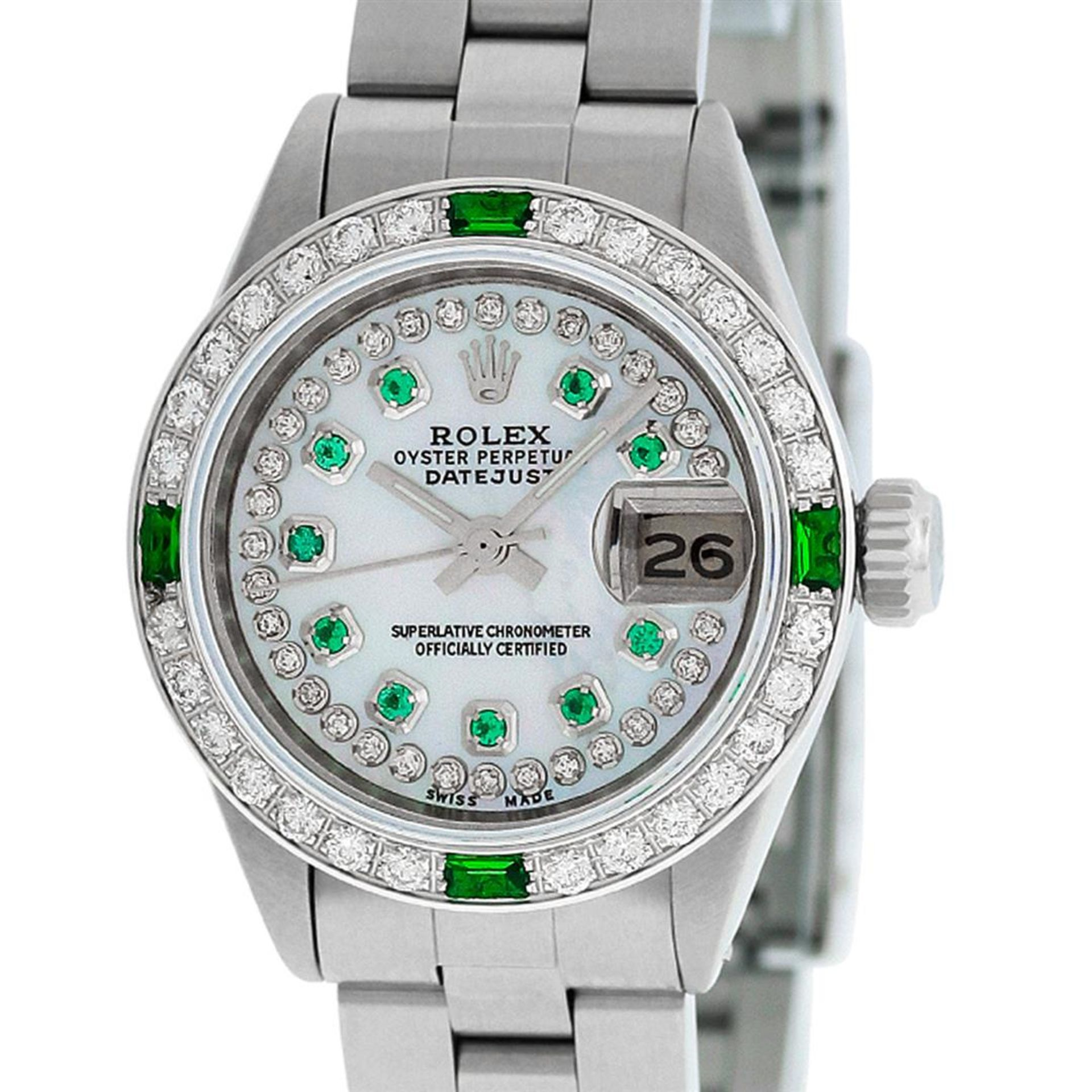 Rolex Ladies Stainless Steel MOP Emerald & Diamond Oyster Perpetaul Datejust Wri - Image 4 of 9