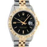 Rolex Mens 2 Tone Black Index Pyramid Diamond Bezel Datejust Wristwatch