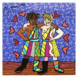 """Britto, """"Gemini Boys (Black & White)"""" Hand Signed Limited Edition Giclee on Canv"""