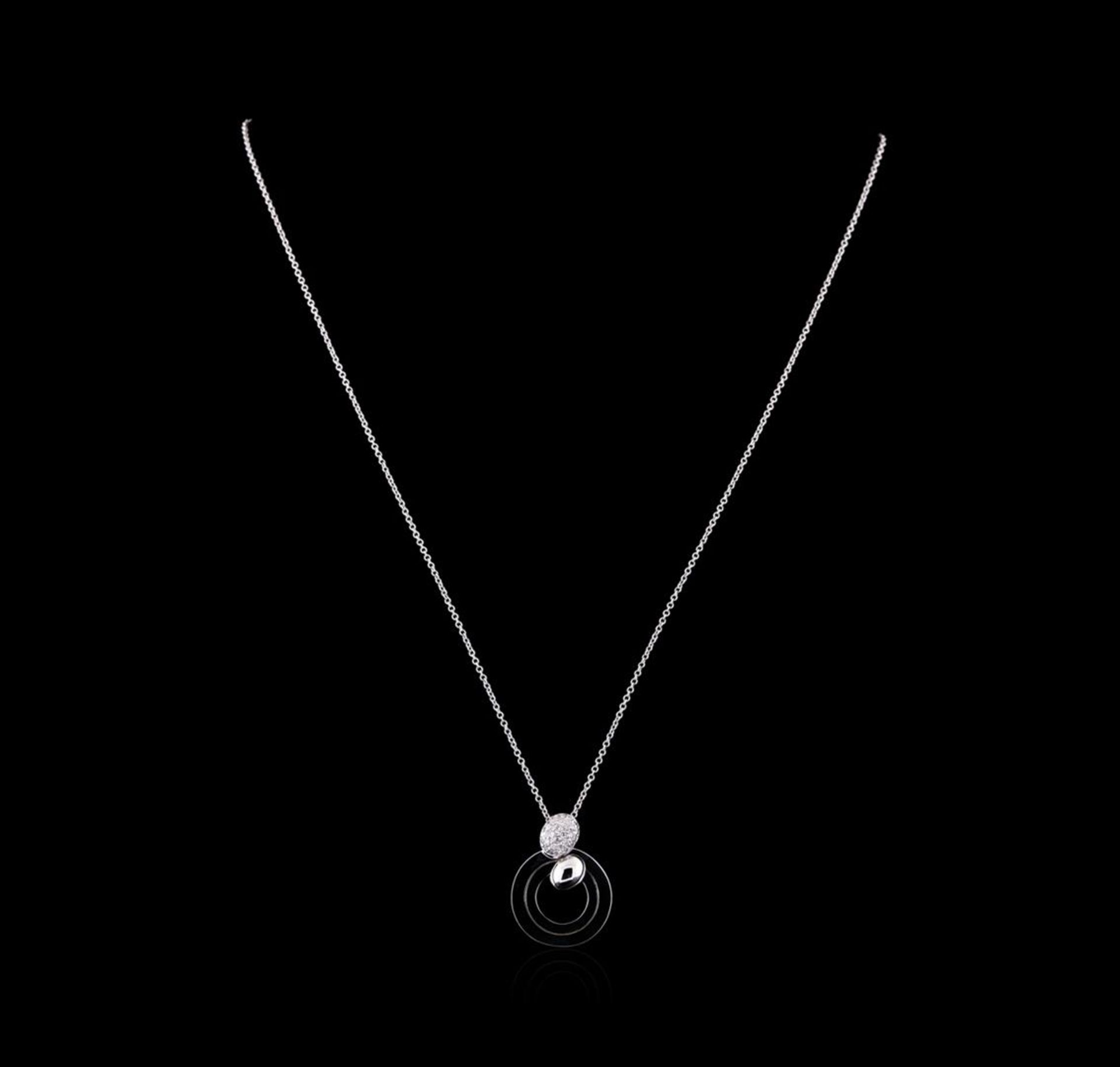 0.25 ctw Diamond Pendant with Chain - 14KT White Gold - Image 2 of 2