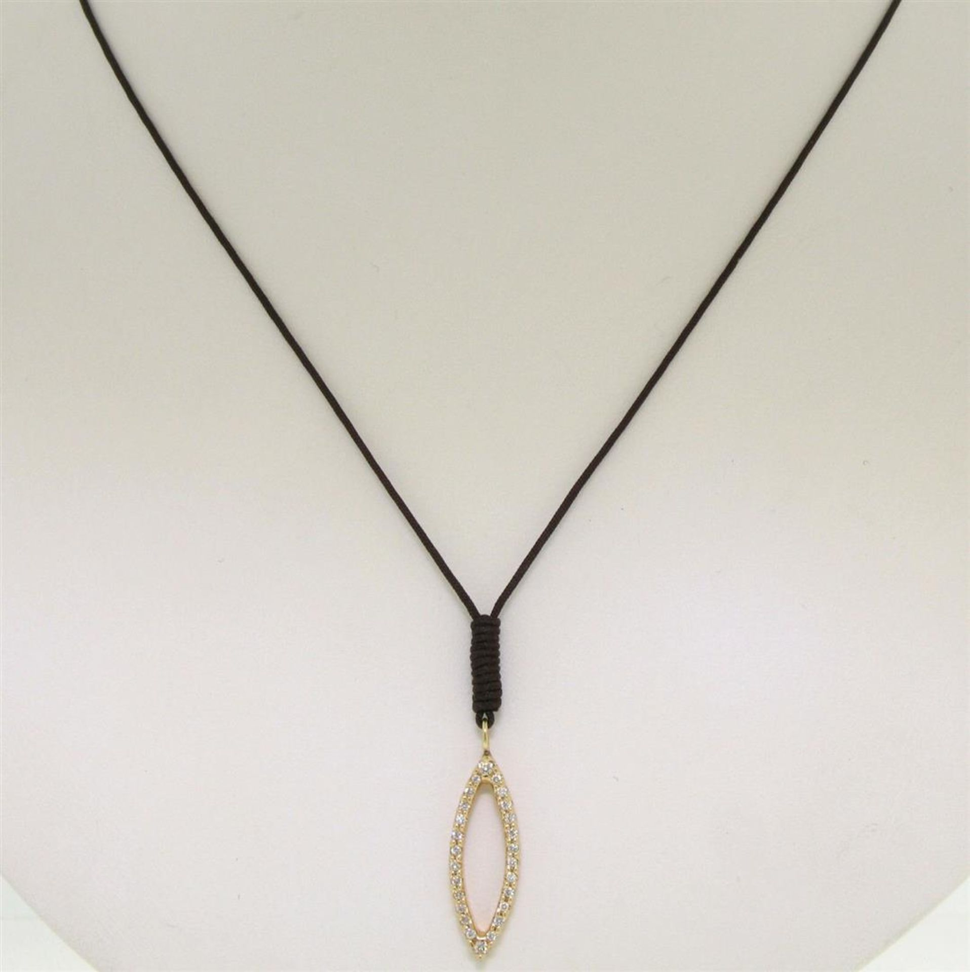 """14k Rose Gold 0.30ctw Diamond Marquise Pendant Necklace w/ 16"""" Brown Cord - Image 4 of 7"""