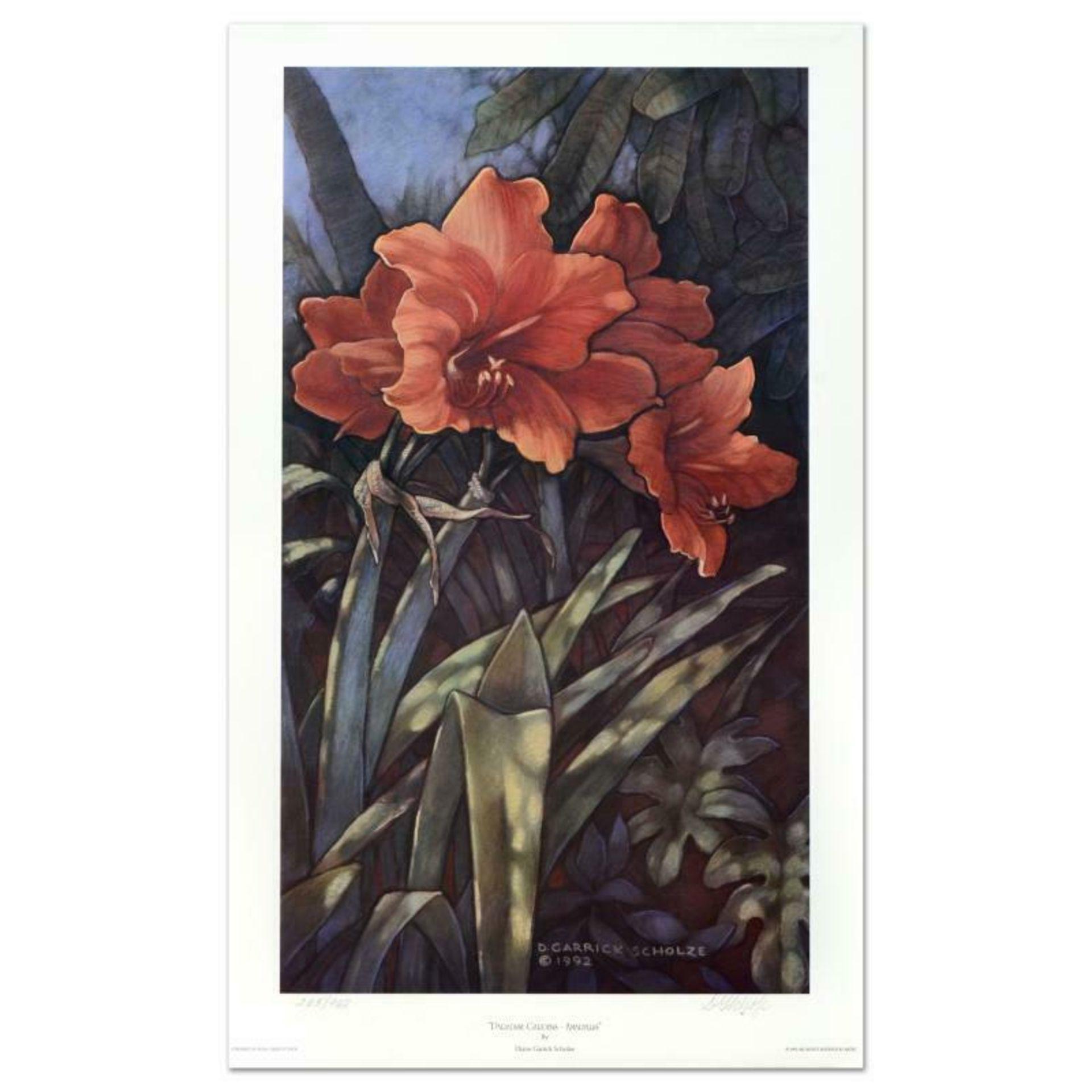 "Diane Garrick Scholze, ""Paradise Garden-Amaryllis"" Limited Edition Lithograph, N"