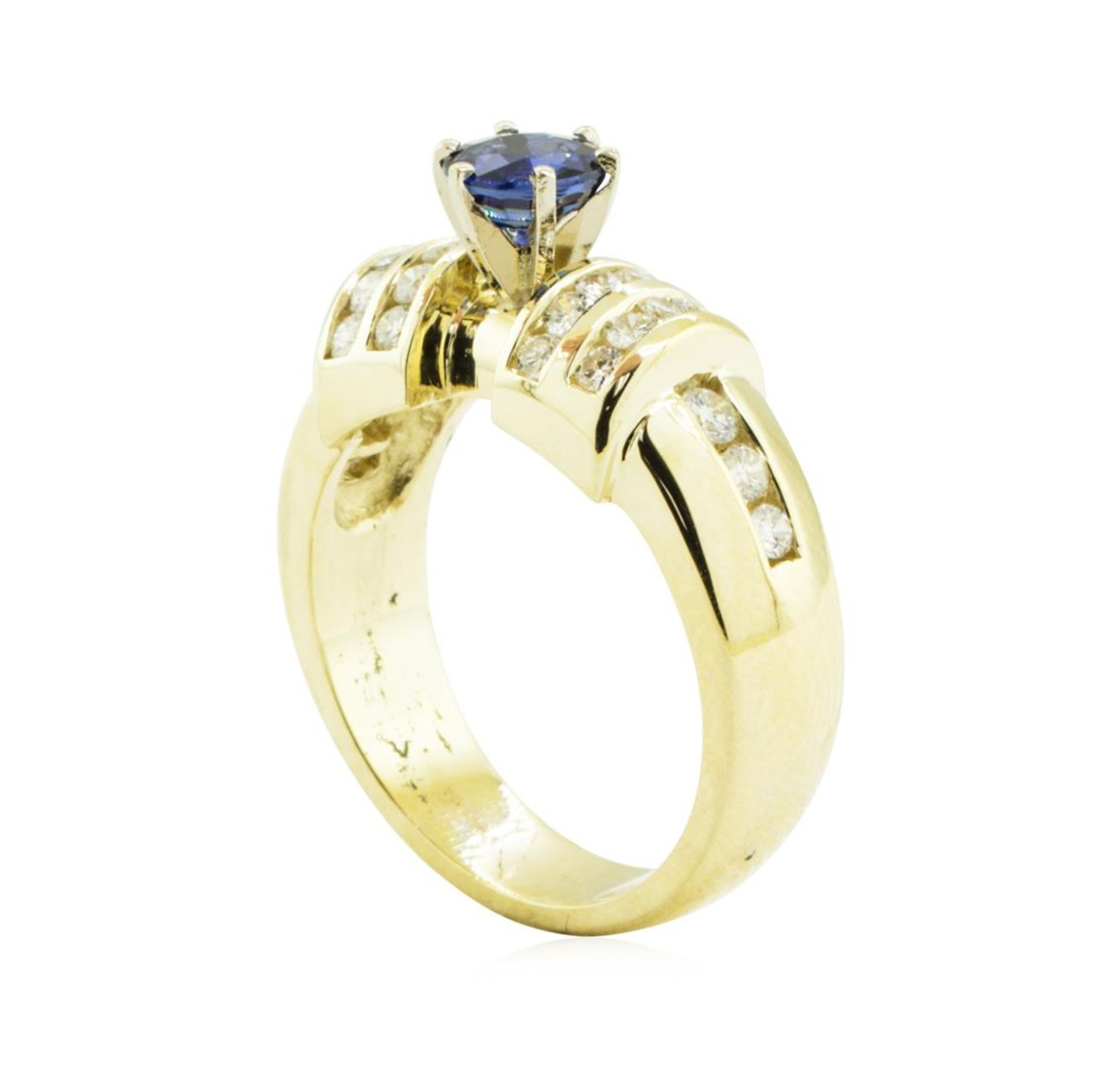 1.40 ctw Round Brilliant Blue Sapphire And Diamond Ring - 14KT Yellow Gold - Image 4 of 5