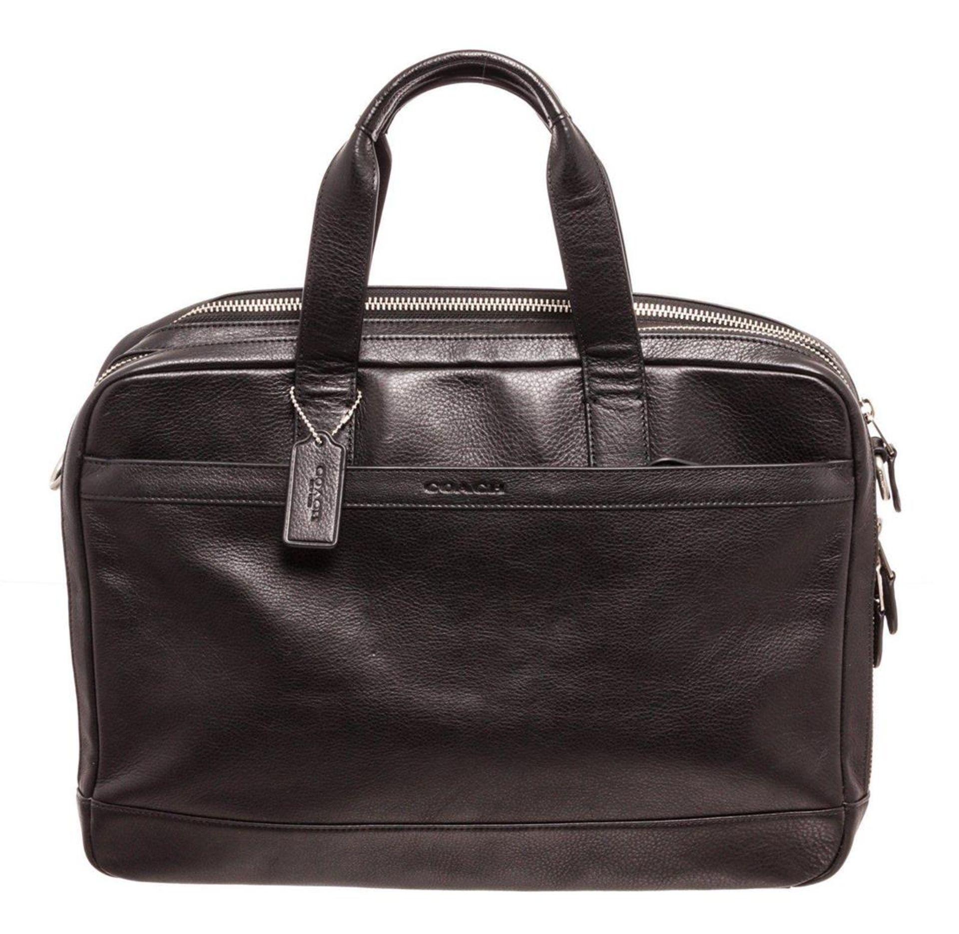 Coach Black Leather Hudson Commuter Messenger Bag