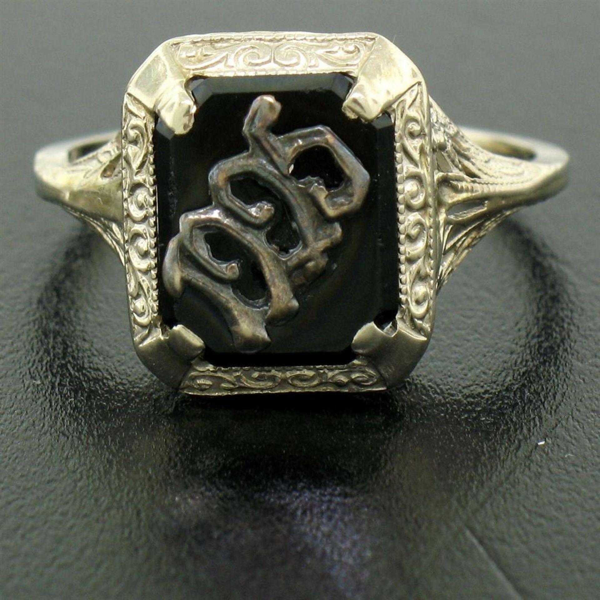 1925 14k White Gold Prong Set Black Onyx Filigree Dinner Ring - Image 6 of 8