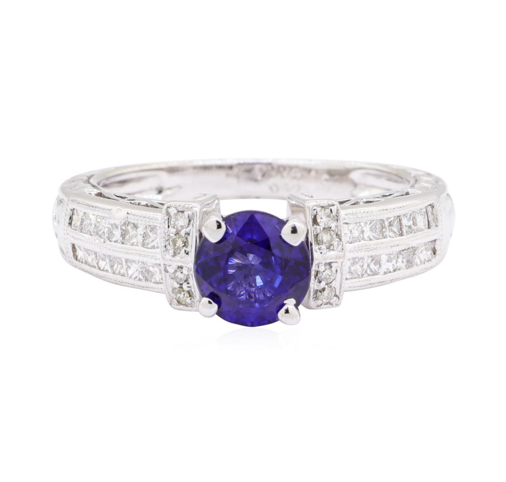 1.36ct Sapphire and Diamond Ring - 14KT White Gold - Image 2 of 4
