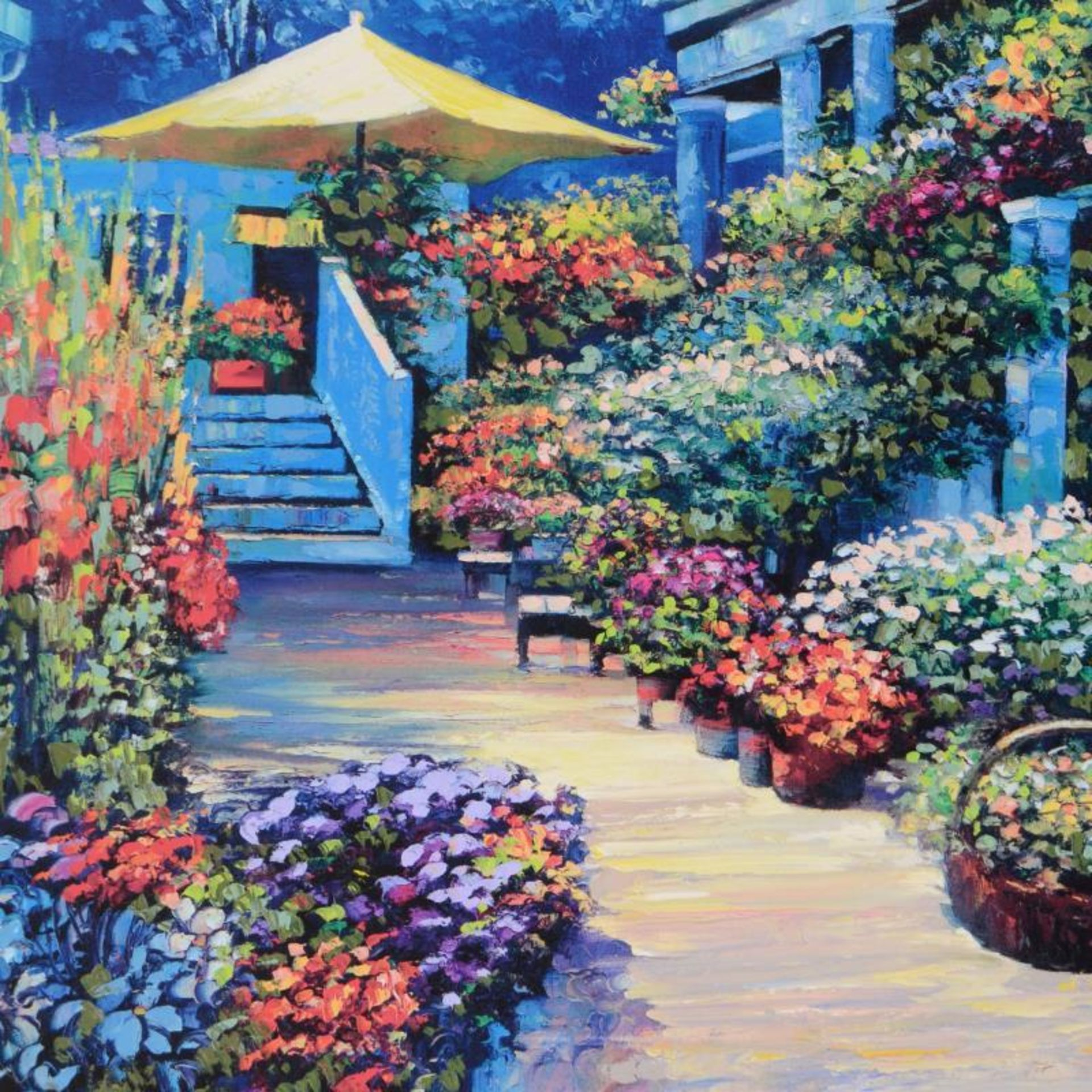 """Howard Behrens (1933-2014), """"Nantucket Flower Market"""" Limited Edition on Canvas, - Image 2 of 2"""