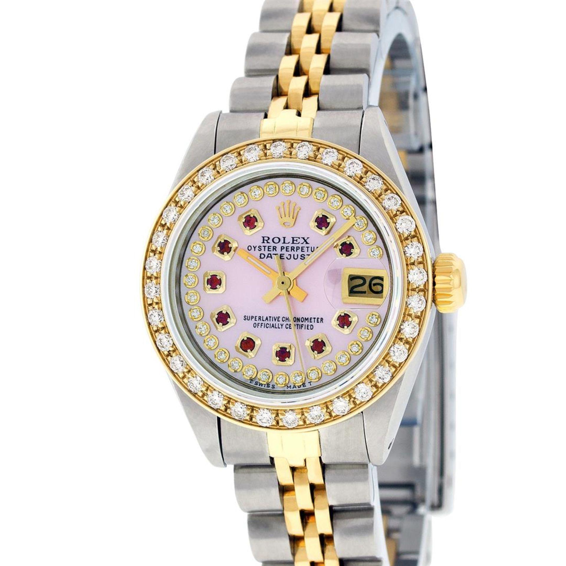 Rolex Ladies 2 Tone Pink MOP Ruby String Diamond Datejust Wristwatch - Image 2 of 9