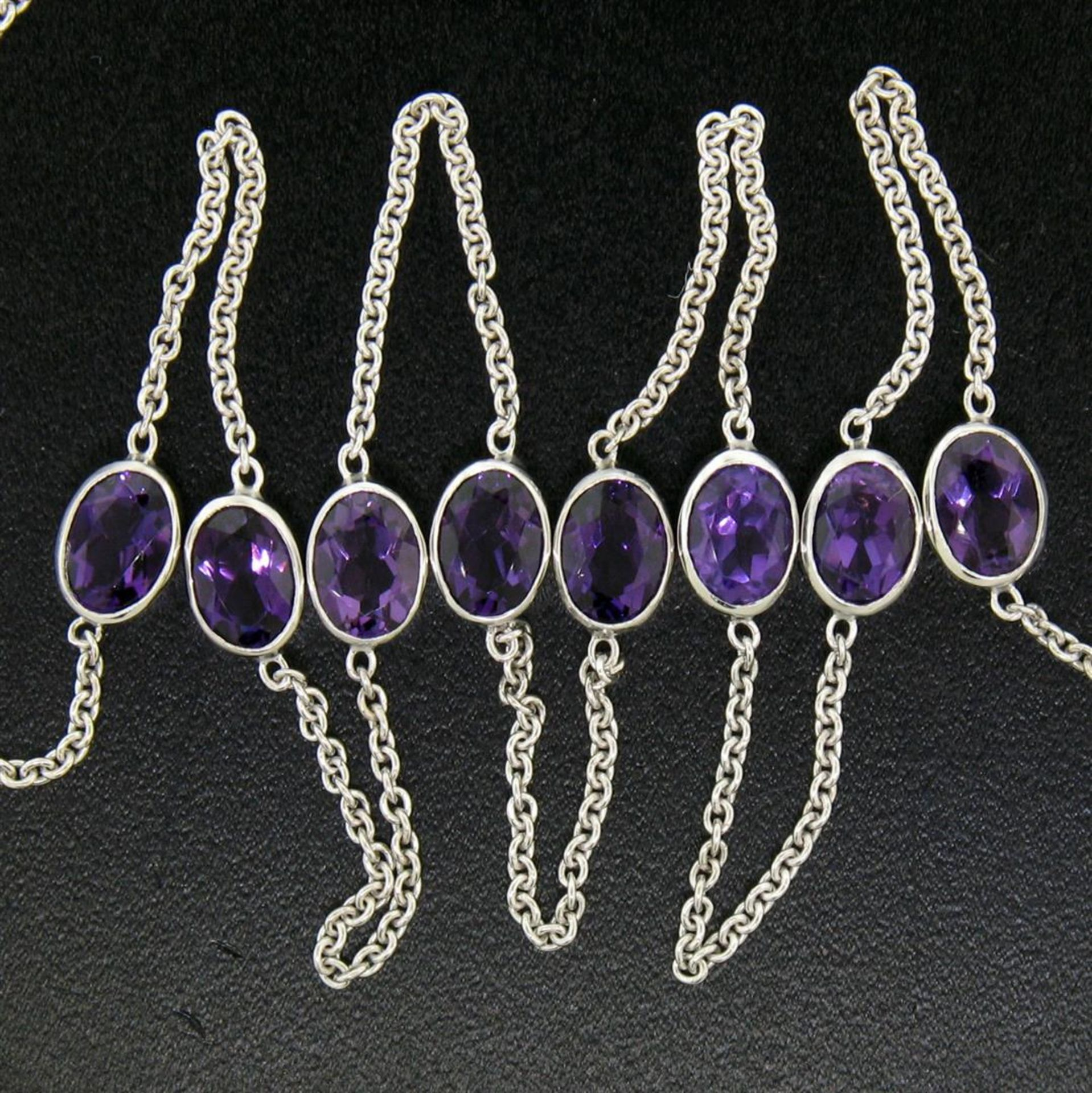 """14k White Gold 8 ctw 8 Station Amethyst by the Yard 20"""" Cable Link Chain Necklac - Image 5 of 7"""