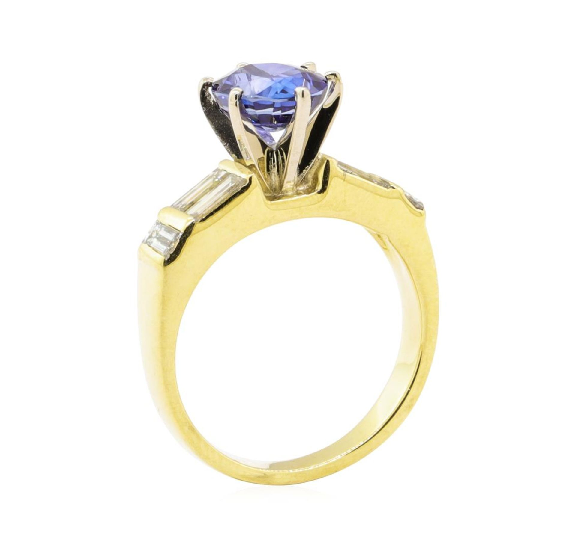 2.93 ctw Blue Sapphire And Diamond With Elevated Shoulders - 18KT Yellow Gold - Image 4 of 5