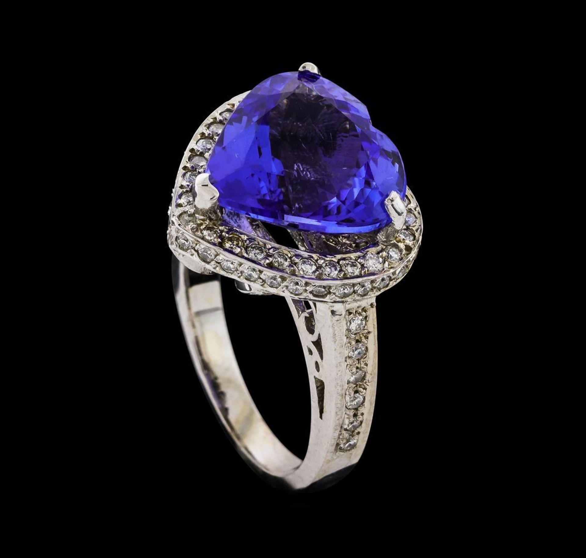GIA Cert 7.72 ctw Tanzanite and Diamond Ring - 14KT White Gold - Image 4 of 6
