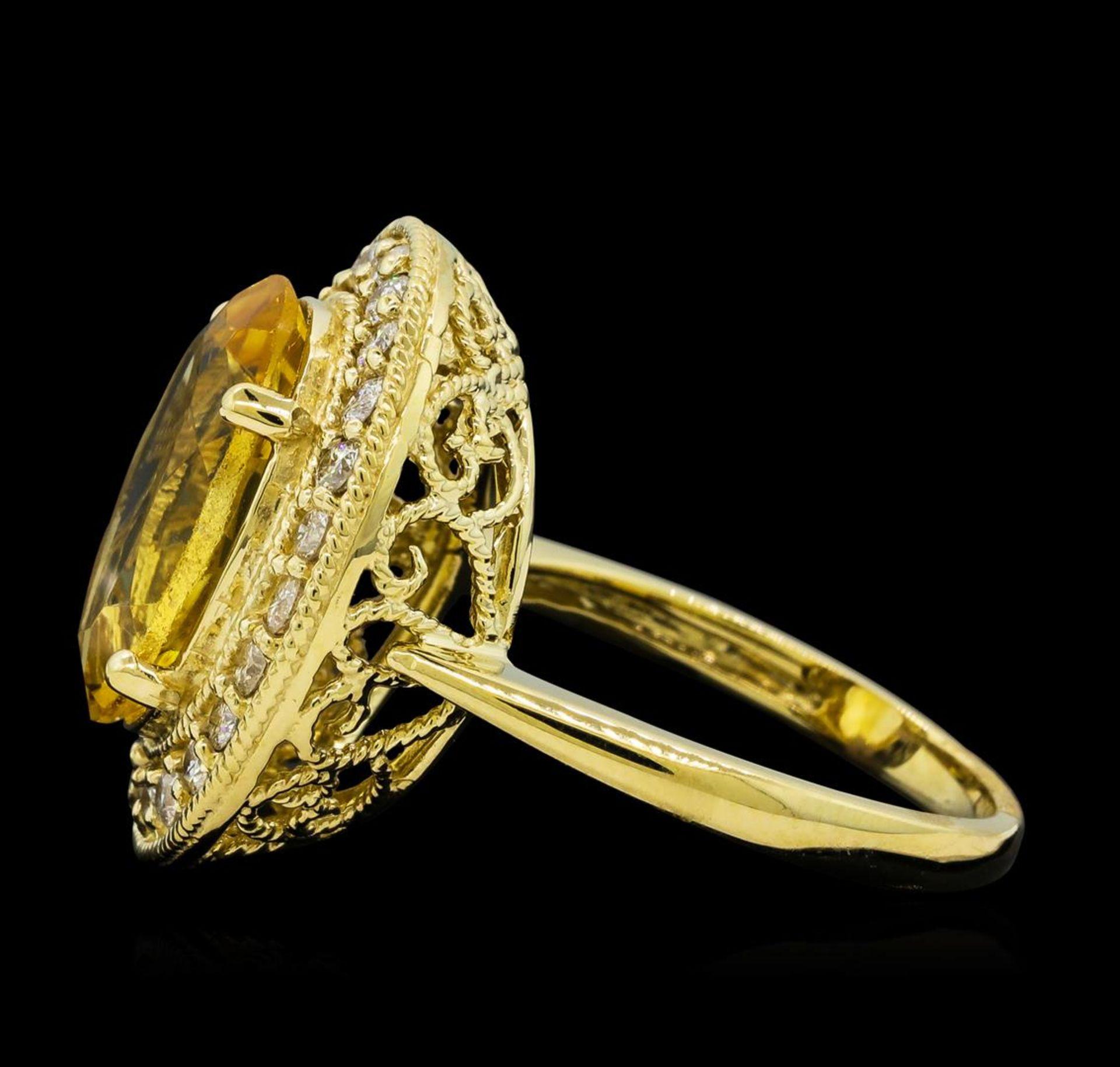 4.22 ctw Citrine Quartz and Diamond Ring - 14KT Yellow Gold - Image 3 of 4