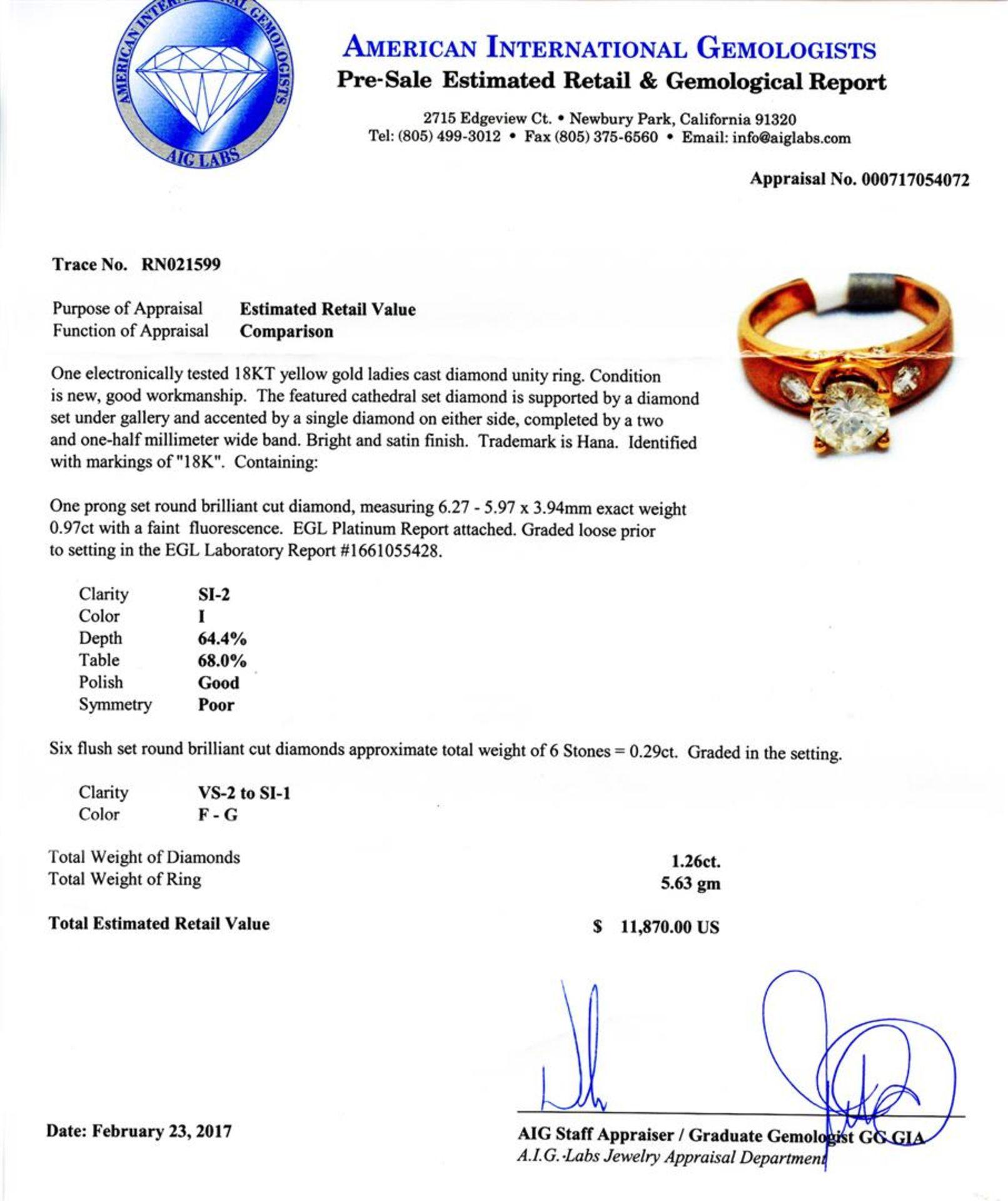 0.97ct SI2 Diamond 18K Yellow Gold Unity Ring (1.26ctw Diamonds) - Image 4 of 4