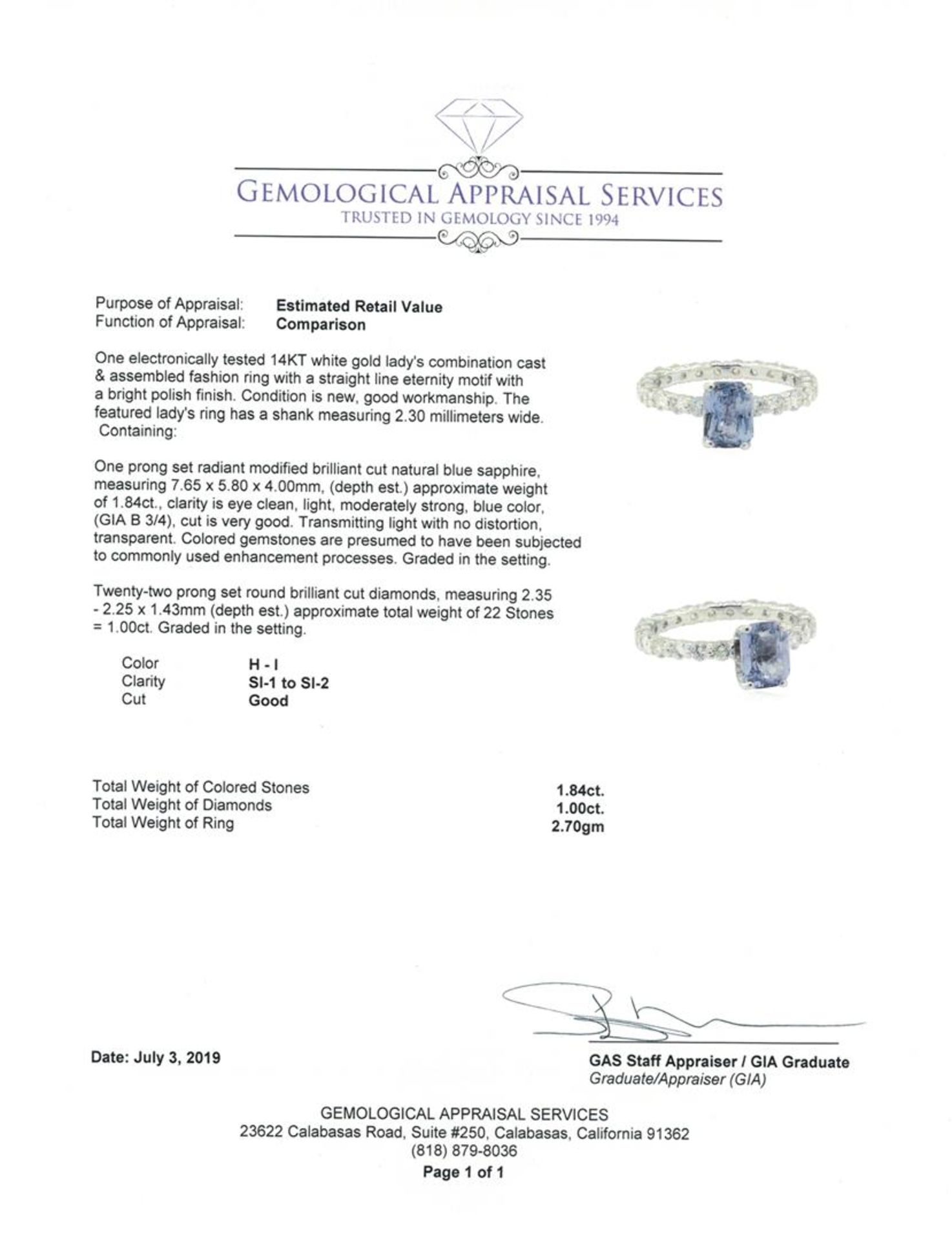 2.84 ctw Sapphire and Diamond Ring - 14KT White Gold - Image 5 of 5