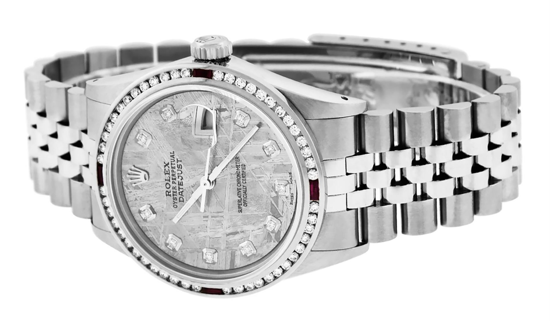 Rolex Mens SS Meteorite Diamond & Ruby Channel Set Diamond Datejust 36MM - Image 5 of 8