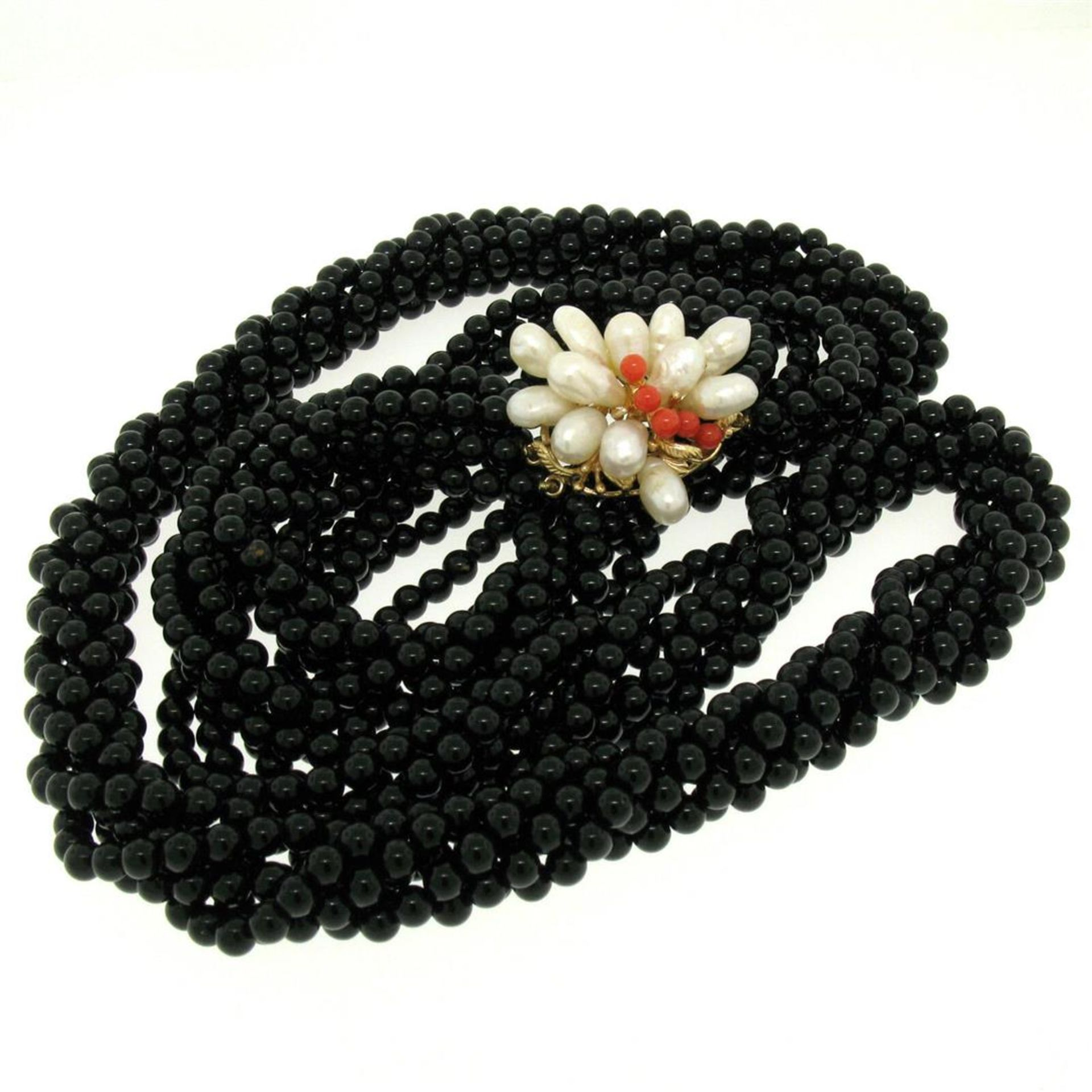 14k Gold Long Multi Strand Black Onyx Necklace w/ Freshwater Pearl & Coral Bead - Image 3 of 4