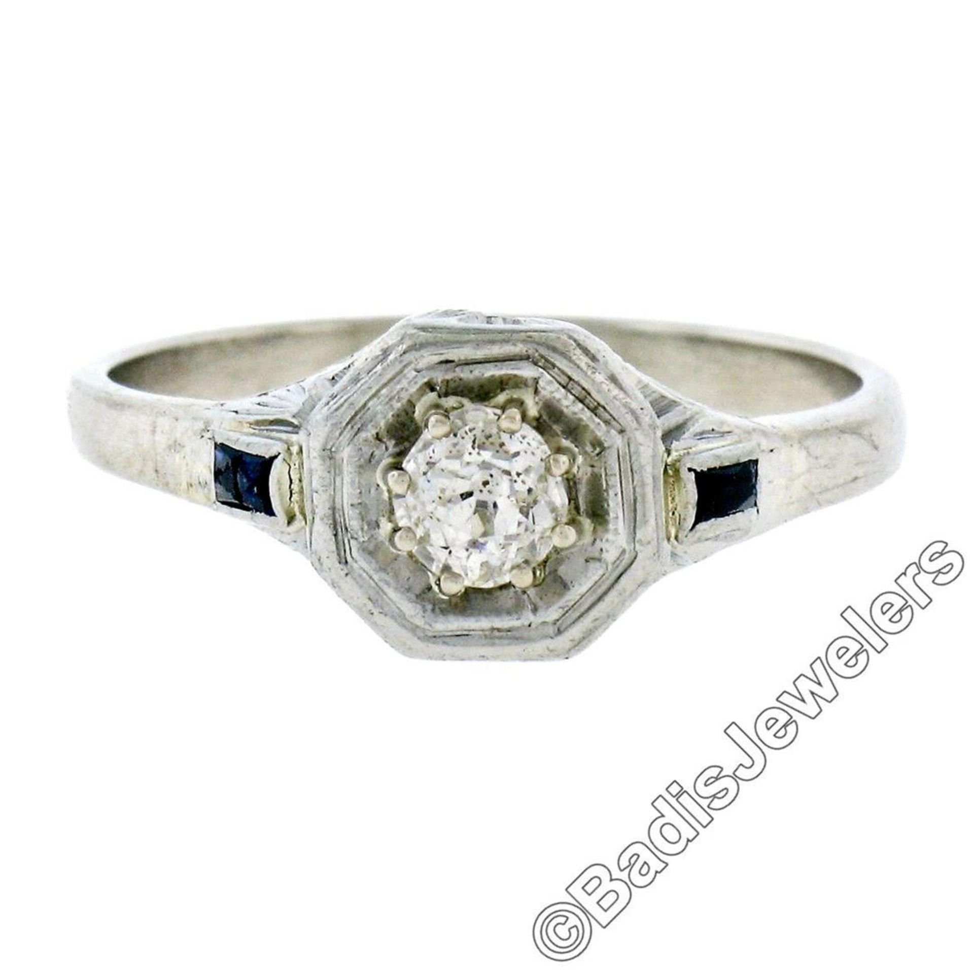 Art Deco 14kt White Gold 0.28ct Diamond Solitaire Engagement Ring