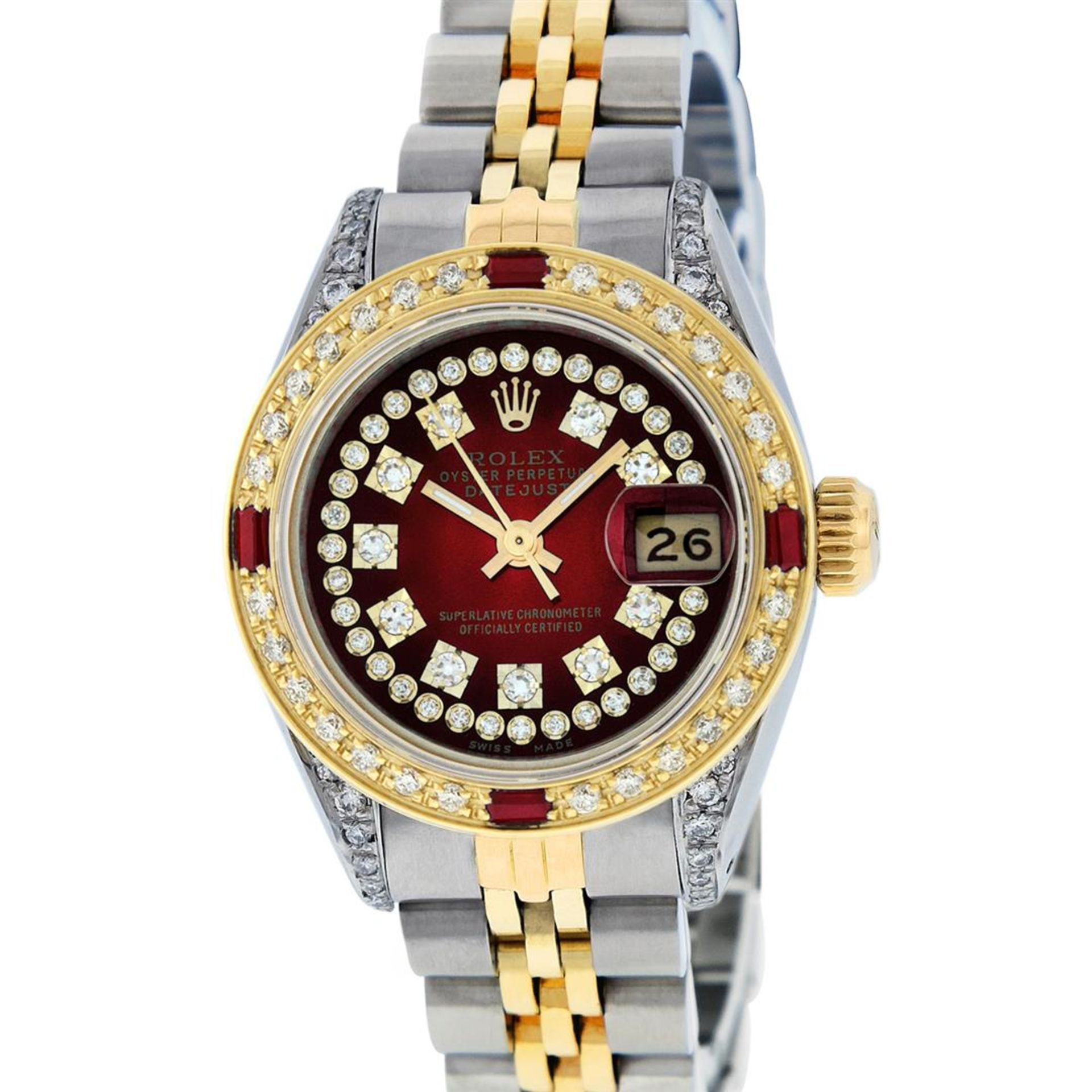 Rolex Ladies 2 Tone Red Vignette String Diamond Lugs & Ruby Datejust Wriswatch - Image 2 of 7