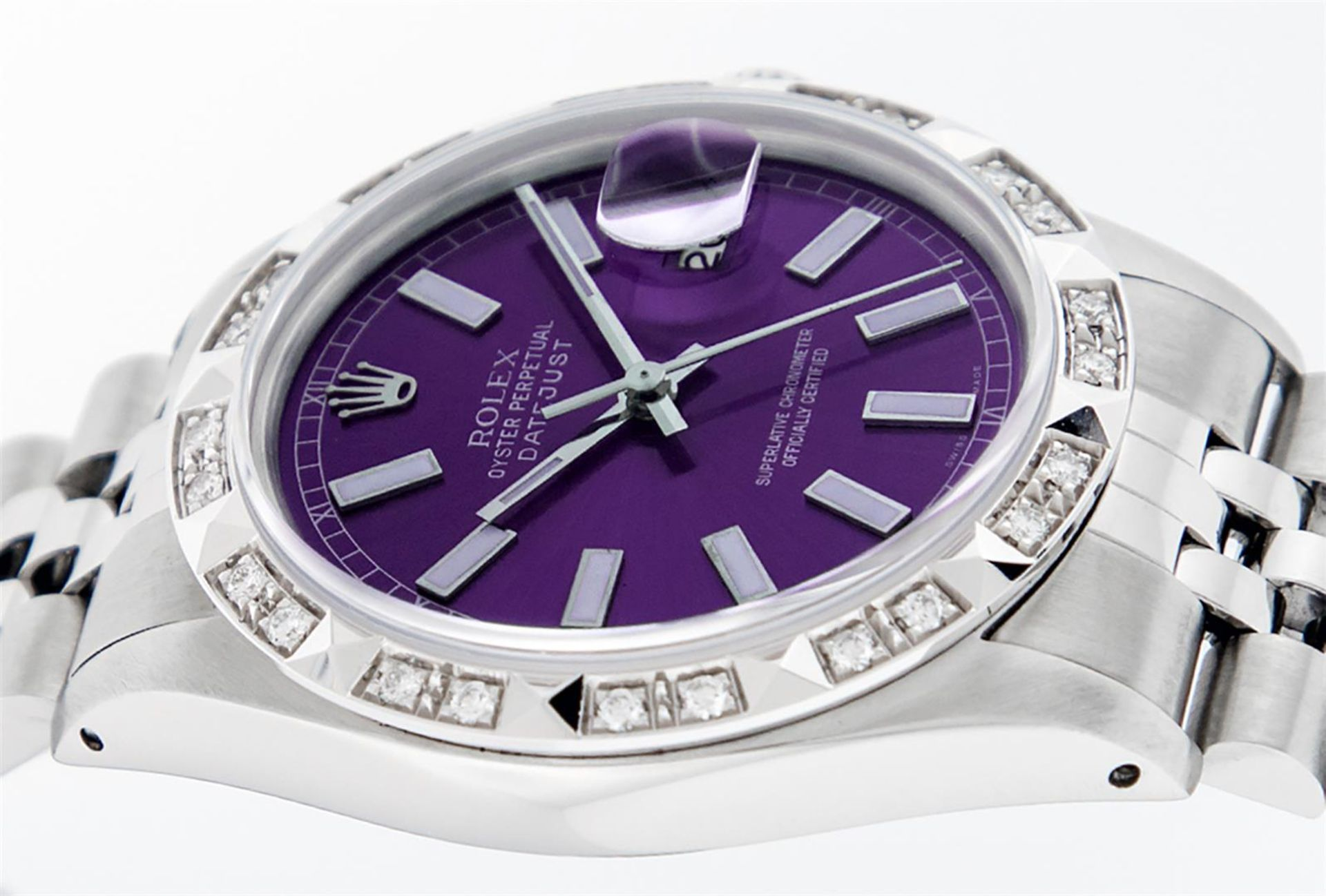 Rolex Mens Stainless Steel 36MM Purple Index Pyramid Diamond Datejust Wristwatch - Image 9 of 9