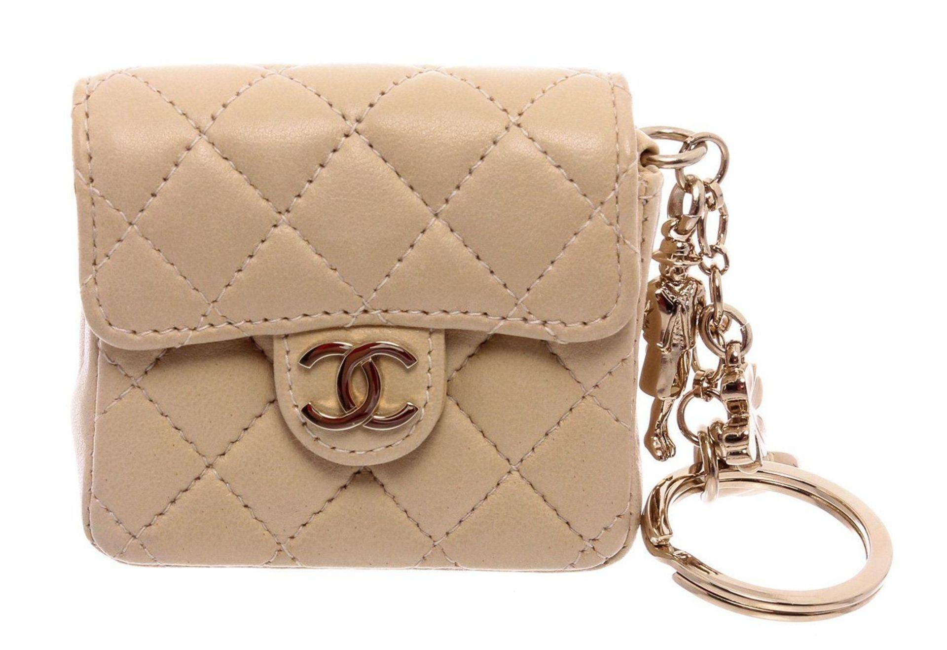 Chanel Beige Leather CC Mademoiselle Mini Flap Charm Key Ring