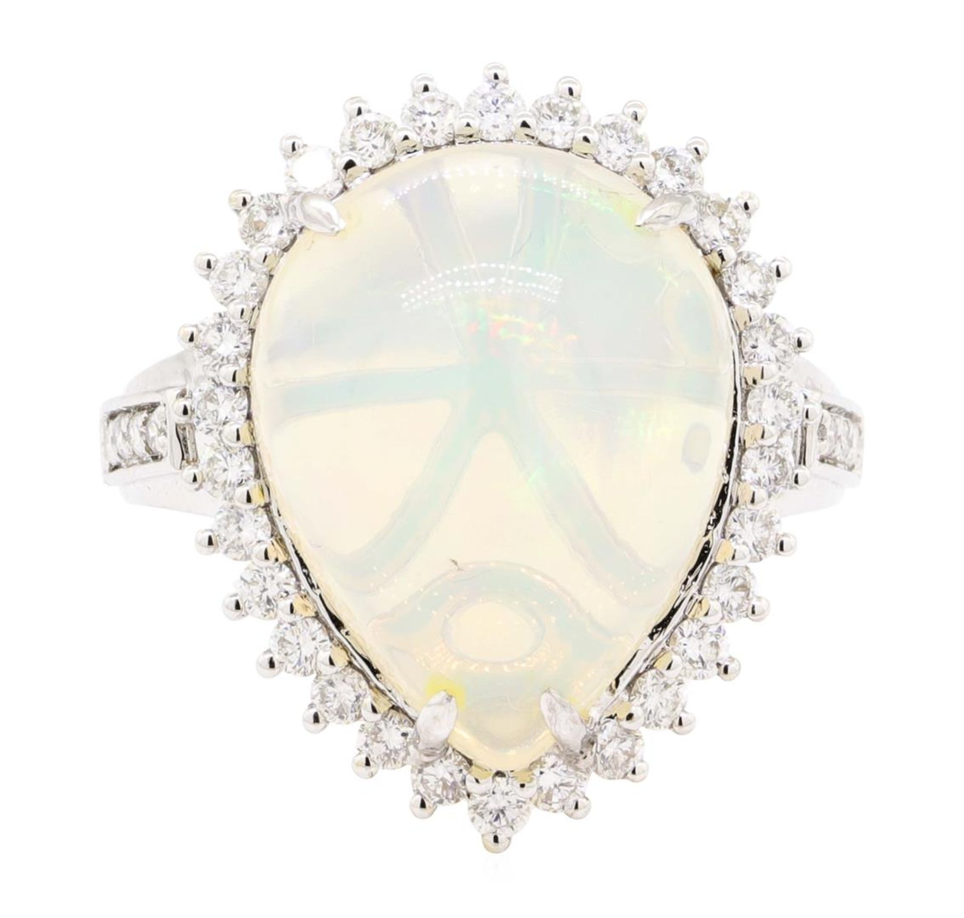 9.12 ctw Cabochon Pear Crystal Opal And Round Brilliant Cut Diamond Ring - 14KT - Image 2 of 5
