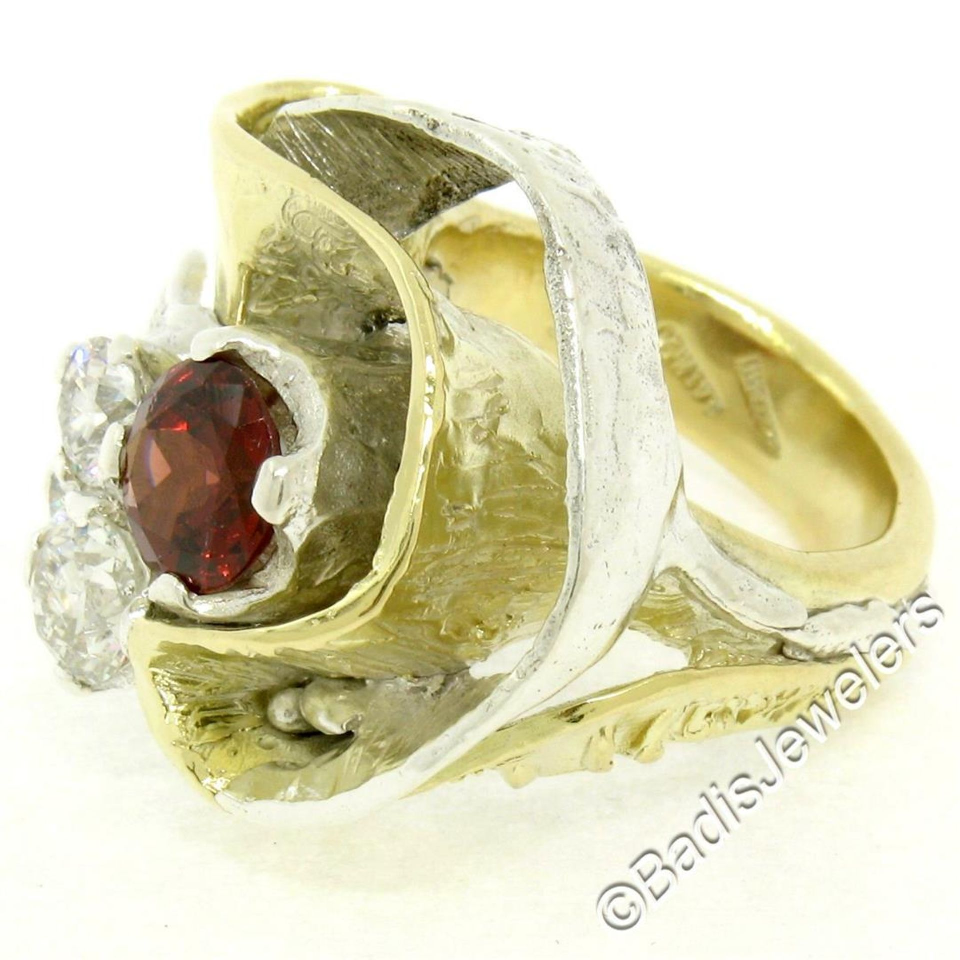 18kt Yellow Gold and Sterling Silver 2.73ctw Garnet and Diamond Cocktail Ring - Image 4 of 9