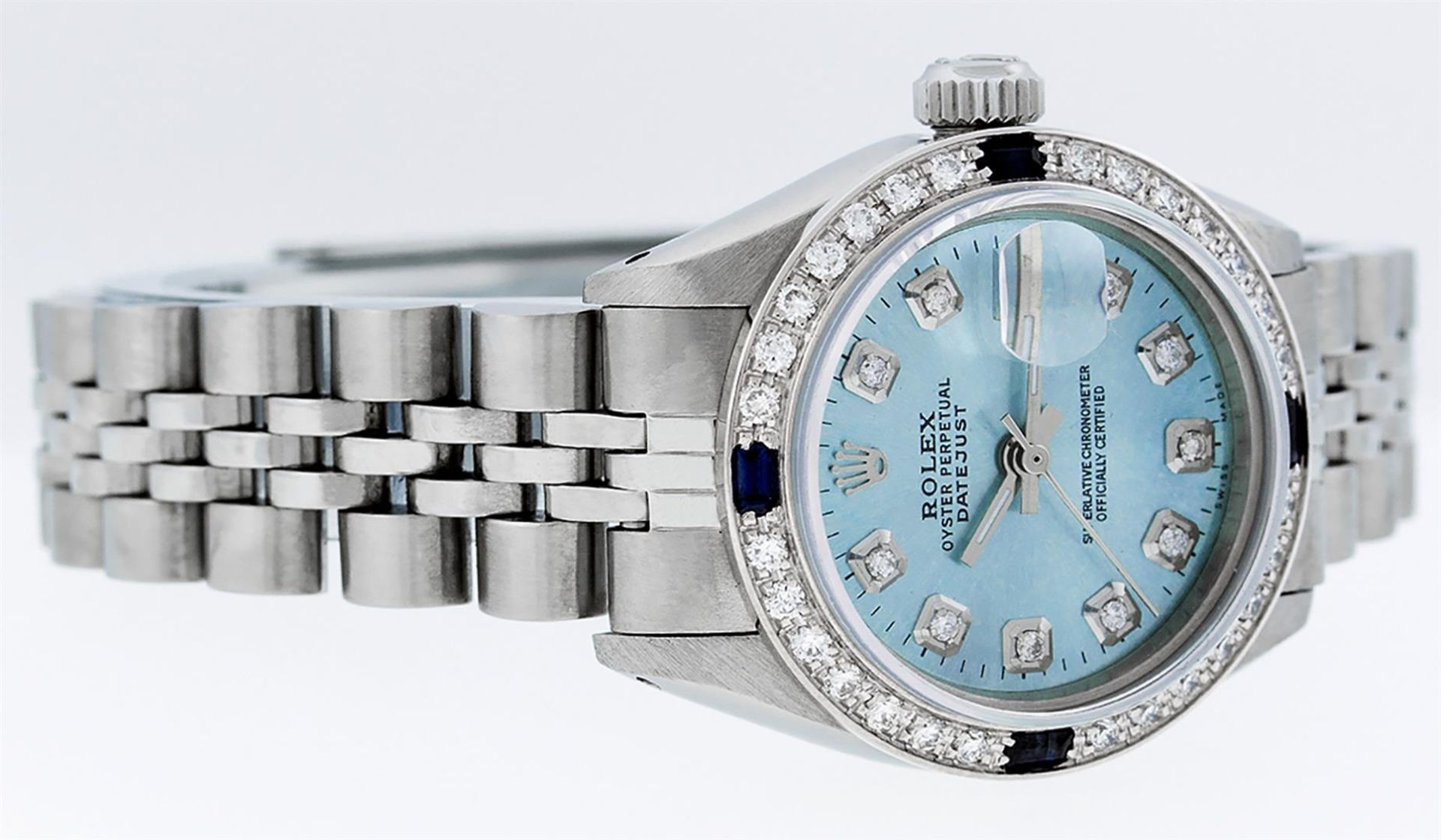 Rolex Ladies Stainless Steel Sky Blue Diamond & Sapphire Datejust Wristwatch - Image 7 of 9