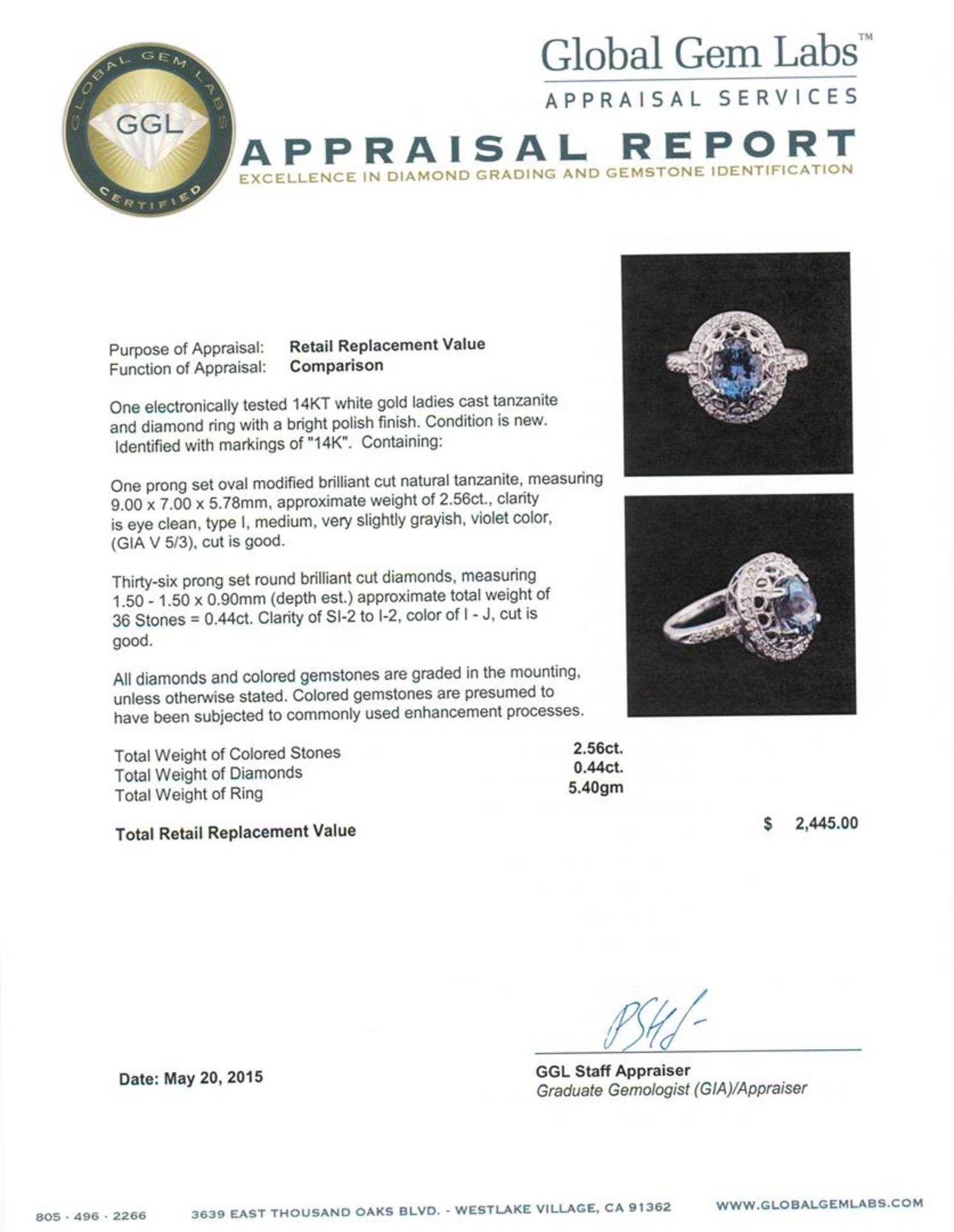 14KT White Gold 2.56 ctw Tanzanite and Diamond Ring - Image 4 of 4
